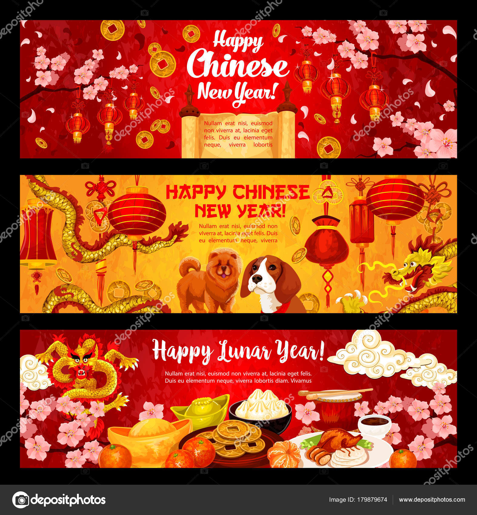 Happy Chinese Hund New Year Vector Gruß Banner — Stockvektor ...