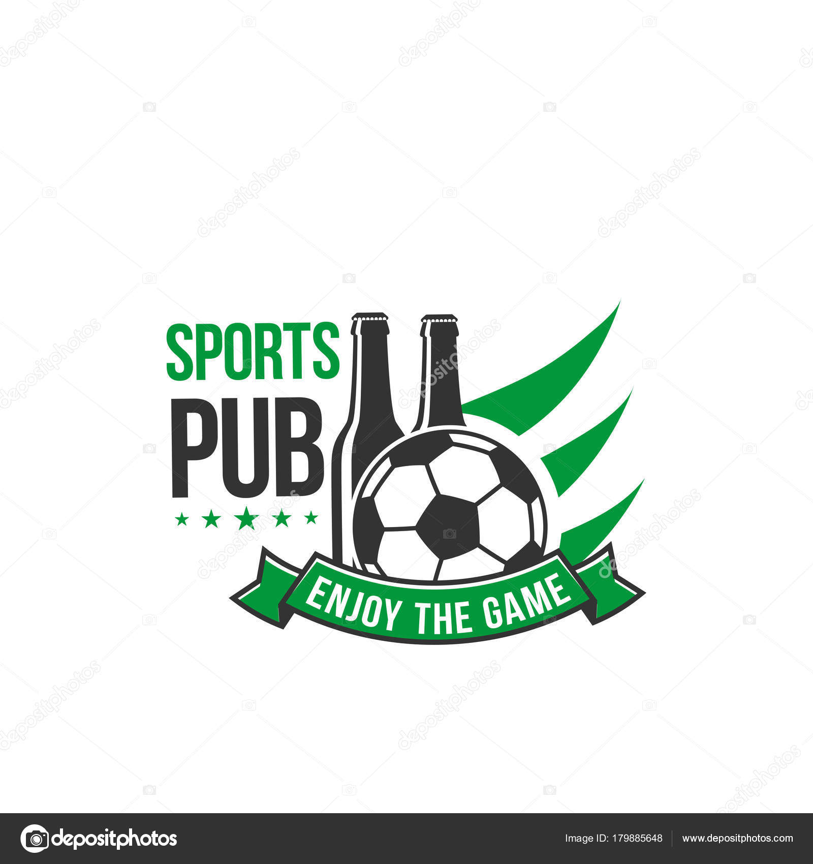 Soccer sports pub vector icon beer bottle and ball stock vector vector isolated symbol of soccer ball wings and green ribbon banner for football beer bar live championship match vector buycottarizona
