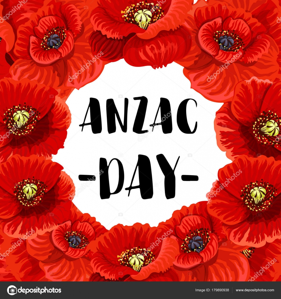 Anzac Day War Memorial Day Red Poppy Vector Poster Stock Vector
