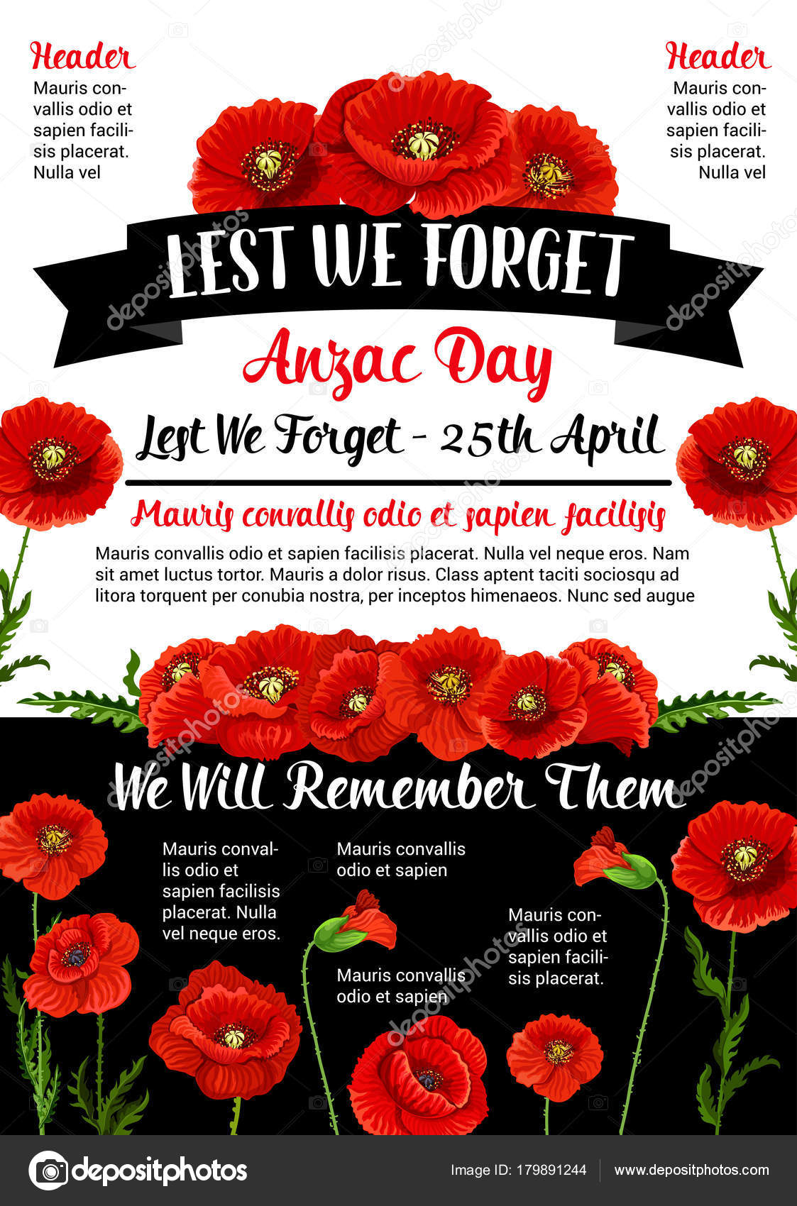 Anzac Day Lest We Forget 25 April Vector Poster Stock Vector