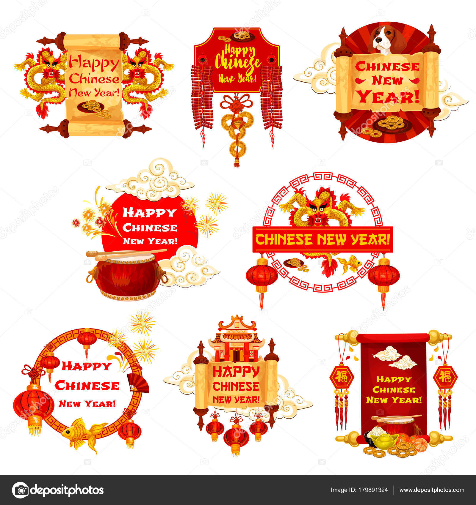 Chinese new year vector traditional greeting icons stock vector happy chinese new year greeting icons of traditional china holiday celebration symbols and decorations vector chinese dragon on hieroglyph wish scroll buycottarizona Gallery