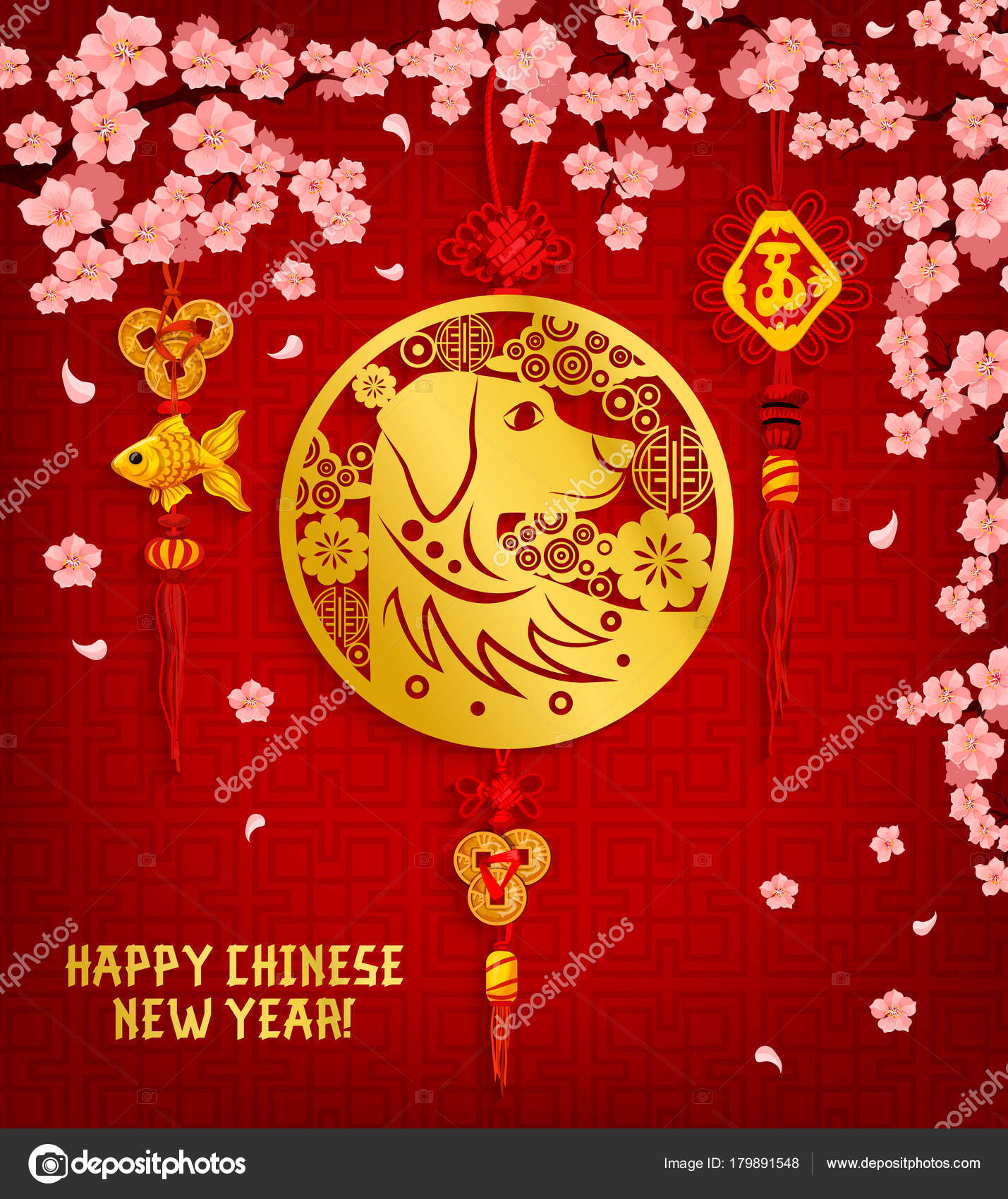 Chinese new year greeting card with dog and flower stock vector chinese new year greeting card with dog and flower stock vector m4hsunfo