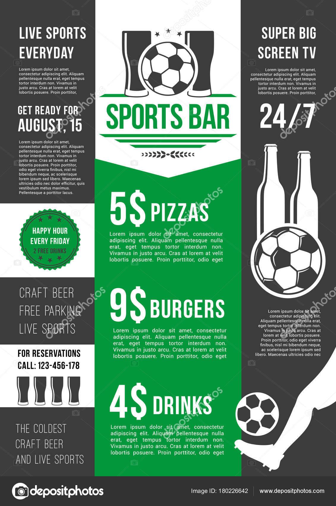 Vector menu poster for soccer bar or football pub — Stock Vector ...