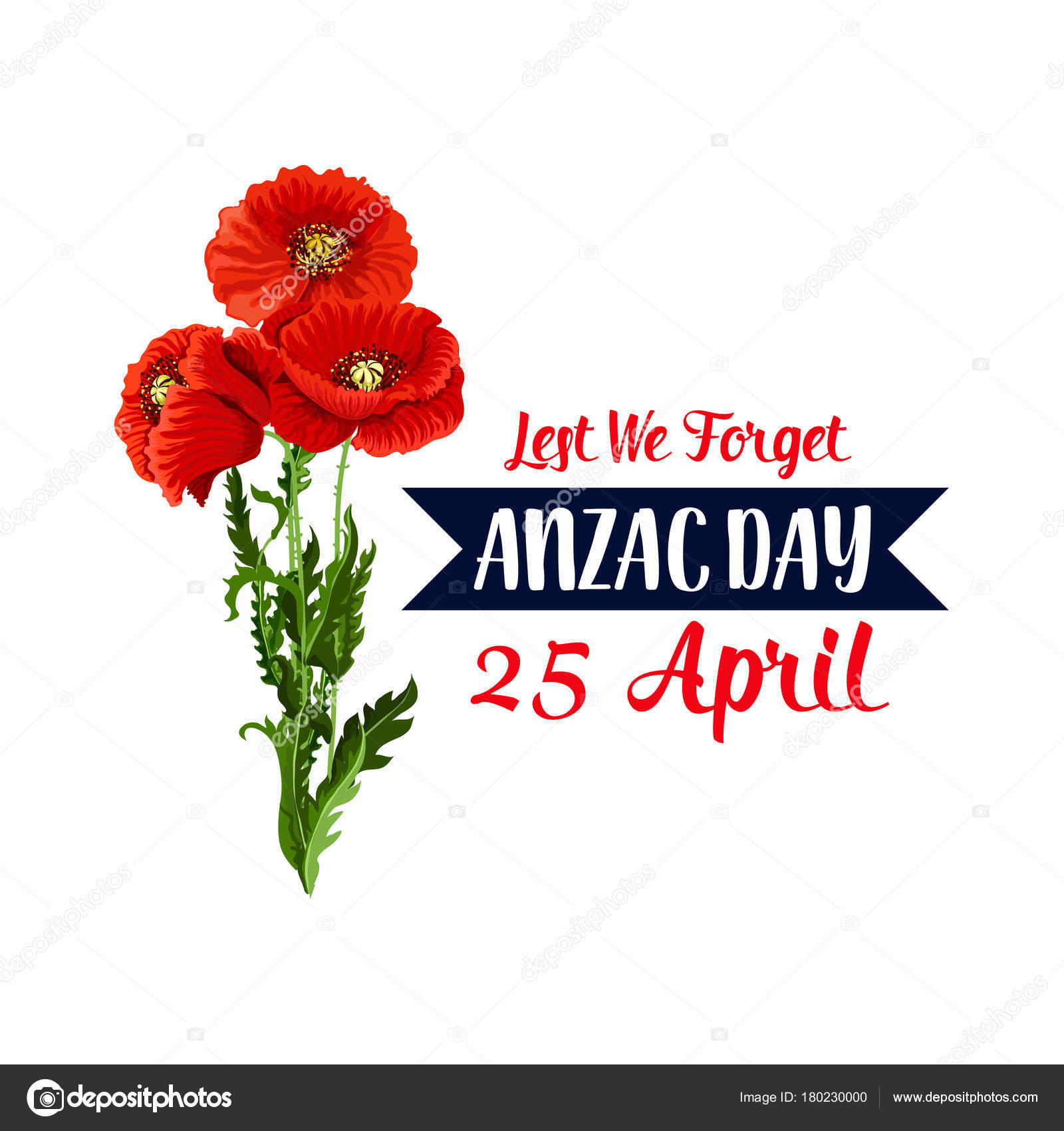 Anzac day 25 april red poppy vector icon ribbon stock vector vector red poppy flowers symbol and lest we forget on blue ribbon for anzac day national commemorative celebration vector buycottarizona