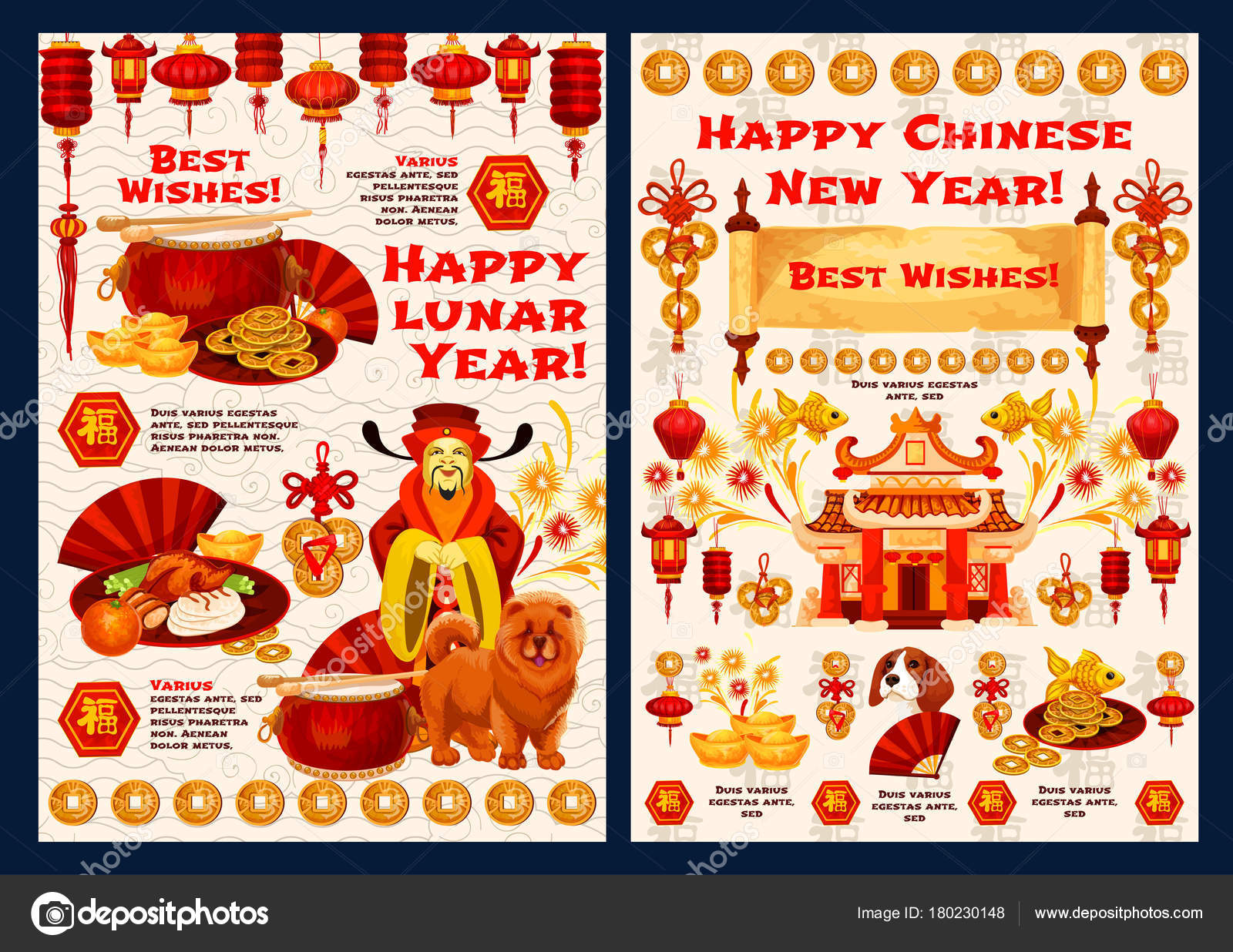 happy chinese new year wishes for 2018 yellow dog lunar year celebration vector greeting card of traditional decorations and golden symbols of red lanterns