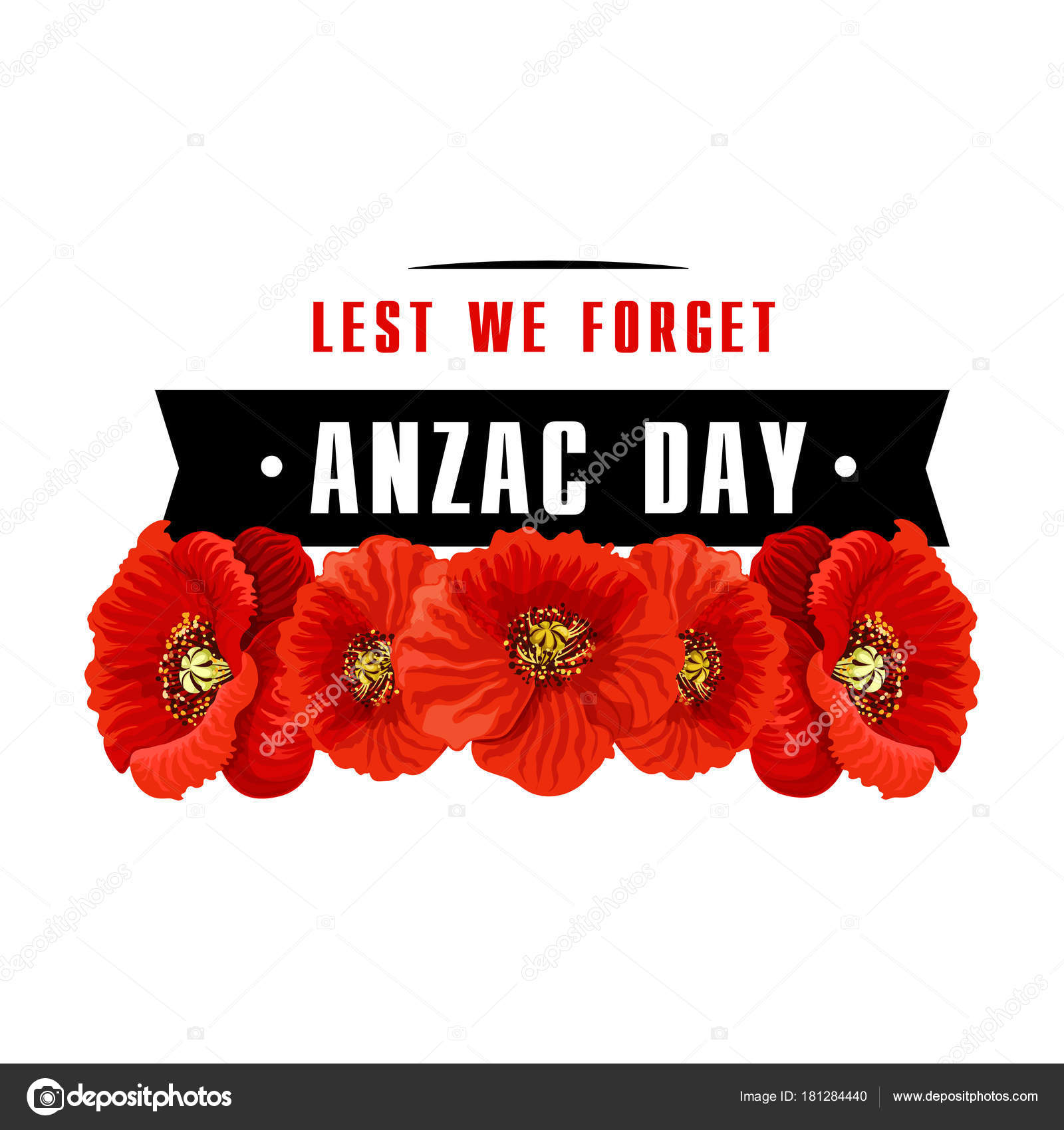 Anzac poppy flower icon with lest we forget banner stock vector anzac day poppy icon with lest we forget banner red poppy flower with black ribbon memorial card for australian and new zealand army corps remembrance day mightylinksfo