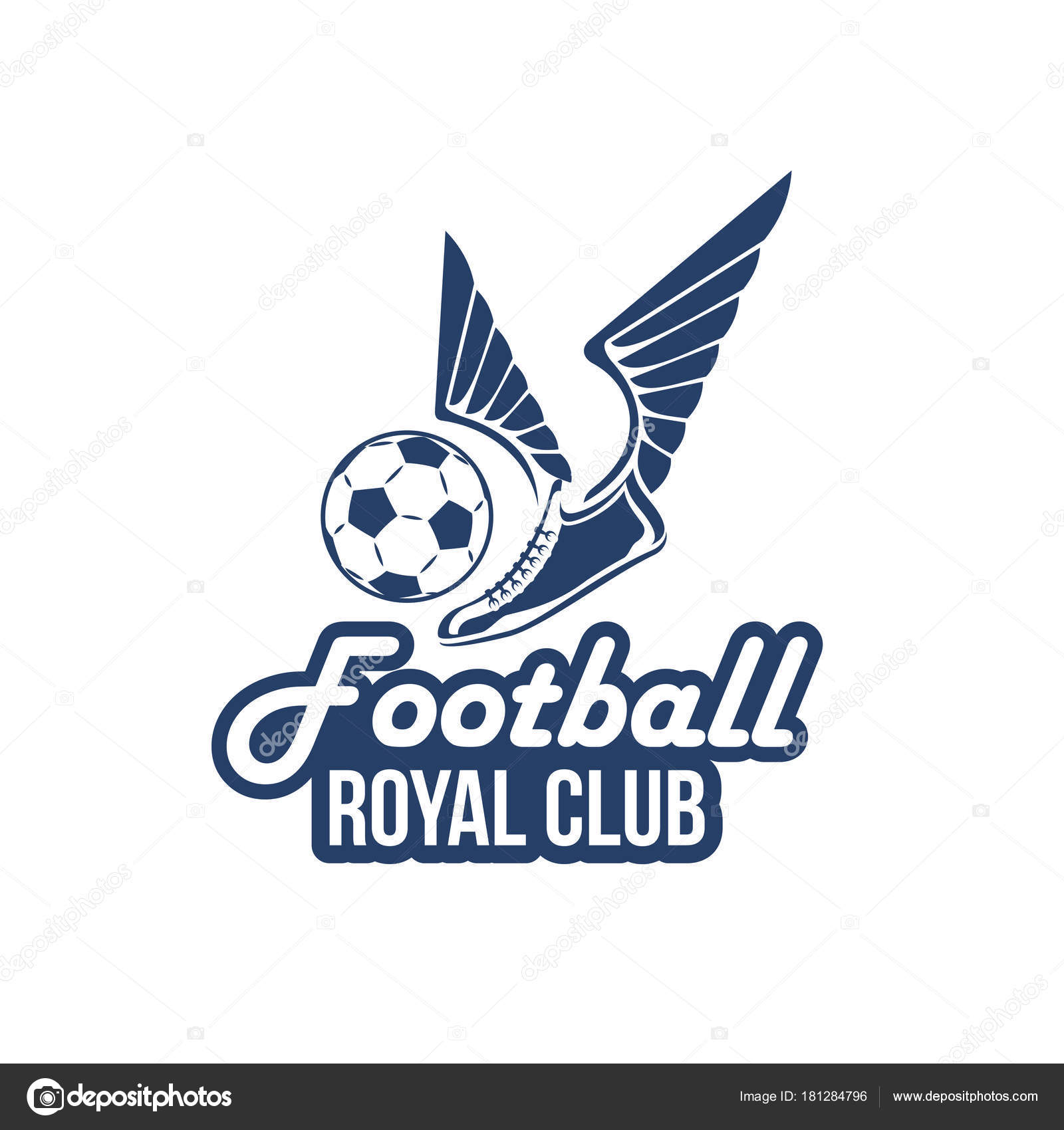 Vector football club icon of soccer ball wings stock vector football royal club icon or badge design template of soccer ball and shoe or player boot with victory wings vector isolated symbol for football college buycottarizona