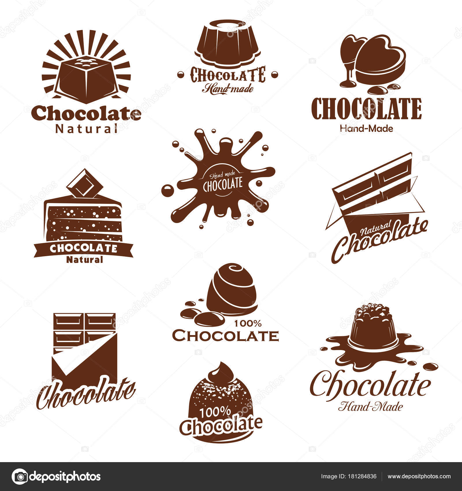 Iconis vector de splash de postres de chocolate caramelo — Vector ...
