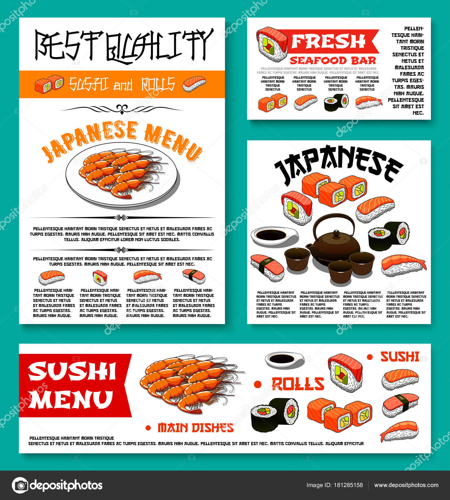 Japanisches Restaurant Sushi-Menü-Vektor-Vorlagen — Stockvektor ...