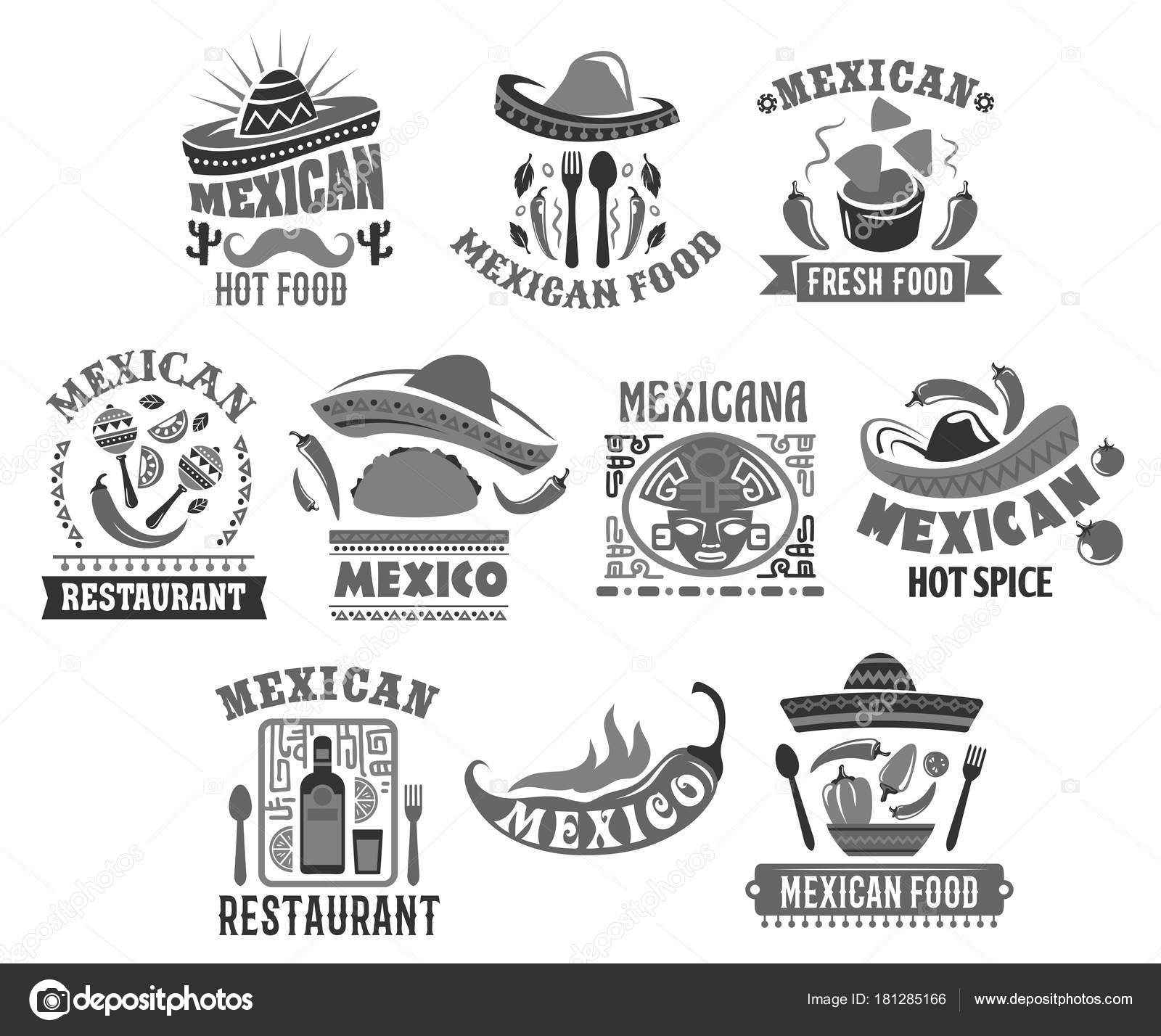 Mexikanische Küche-Vektor-Icons für restaurant — Stockvektor ...
