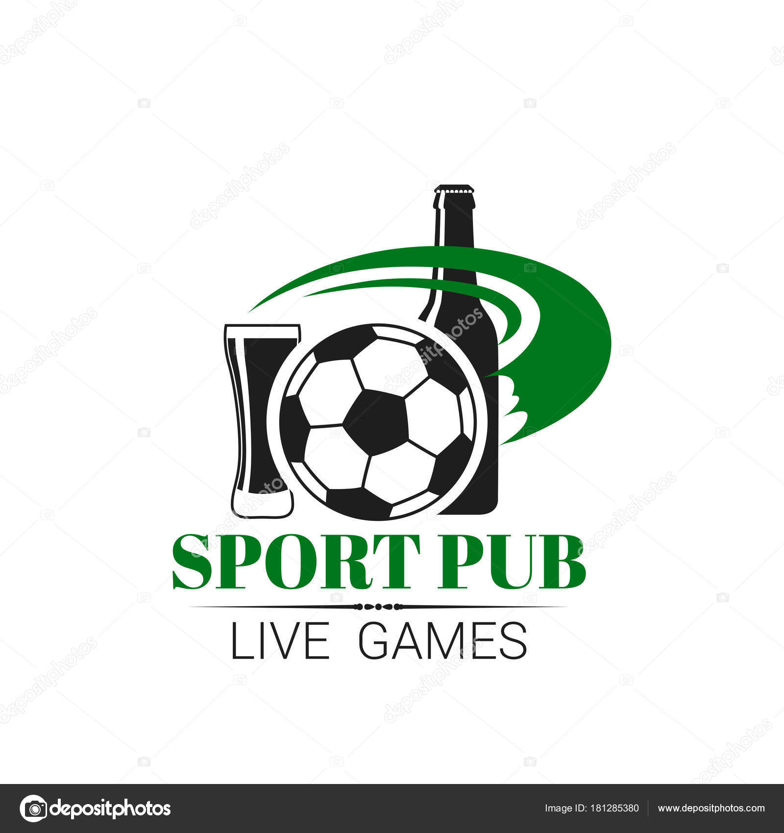 Soccer sports pub live football bar vector icon stock vector soccer sports pub icon for live championship fan club or menu vector isolated symbol of football ball beer bottle and draught beer glass pint for soccer buycottarizona