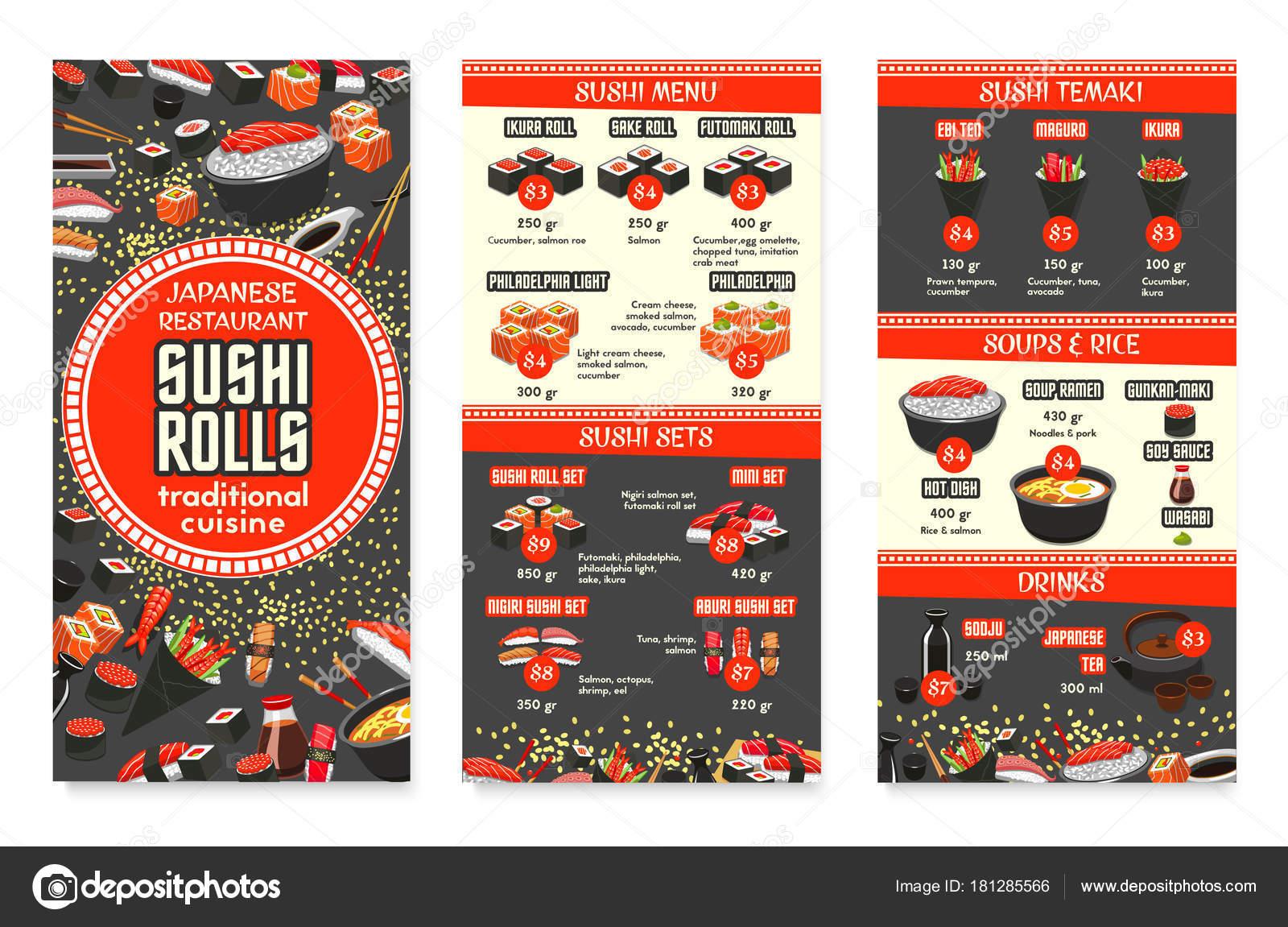 Vektor japanische Küche asiatische Küche Menü-design — Stockvektor ...