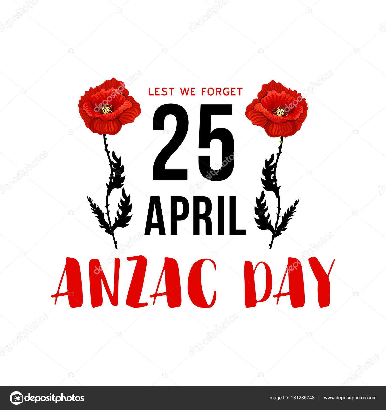 Anzac day 25 april memorial card with red poppy stock vector anzac day 25 april memorial card with red poppy flower australian and new zealand army corps remembrance day and world war campaign anniversary floral card mightylinksfo