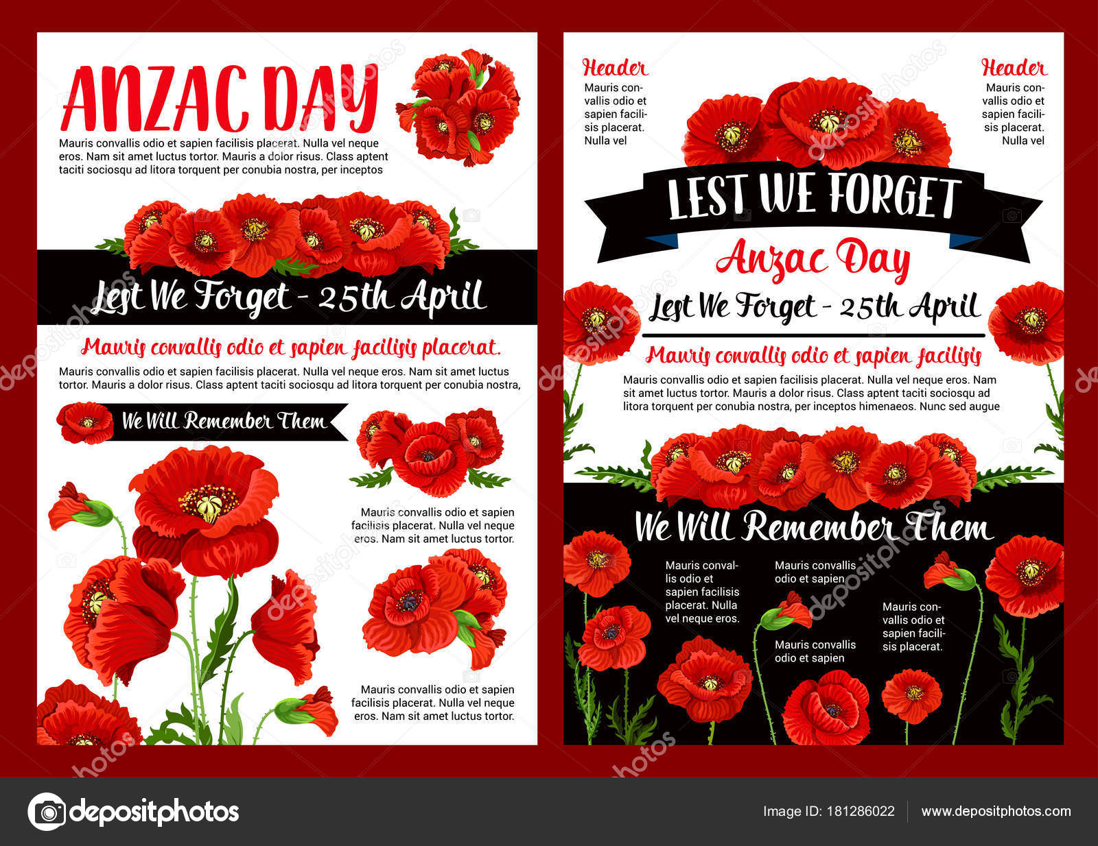 Anzac Day Memory Banner Of Poppy Flower And Ribbon Stock Vector