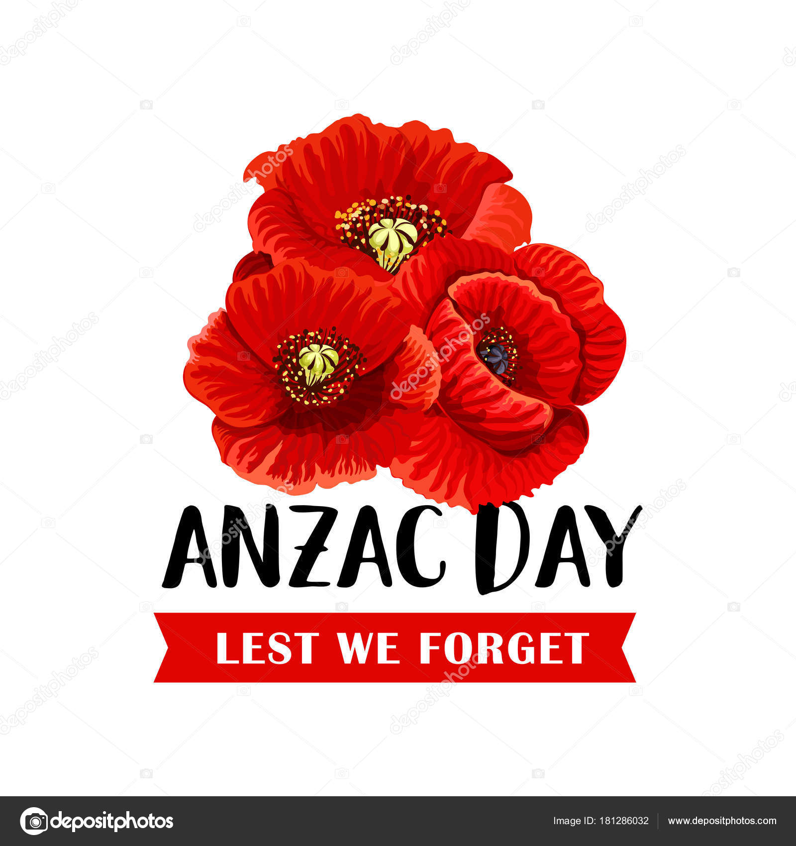 Anzac Remembrance Day Icon With Red Poppy Flower Stock Vector