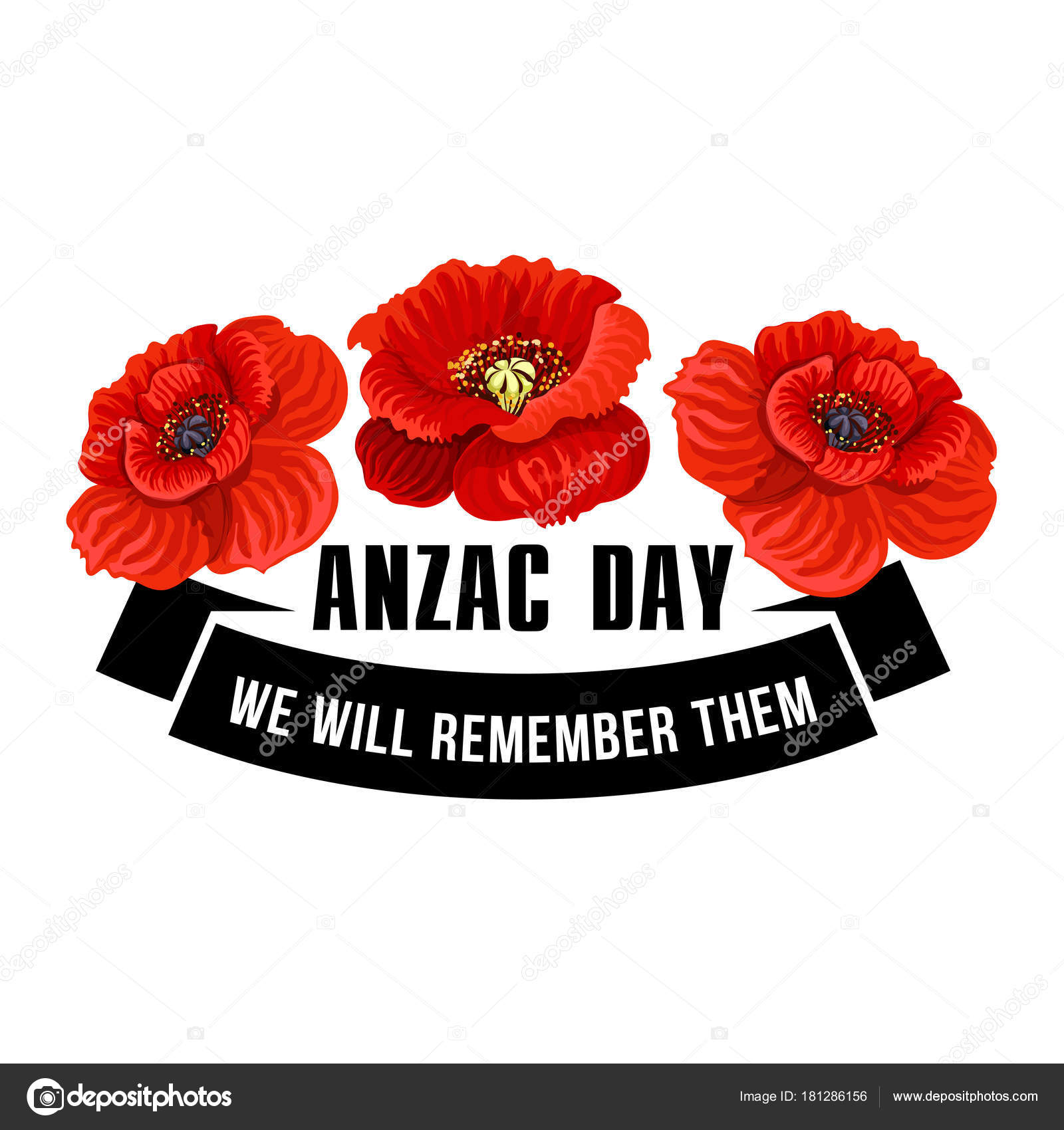 Anzac day icon of poppy flower with black ribbon stock vector anzac day flower symbol of red poppy black ribbon banner with we will remember them message and poppy flower for australian and new zealand army corps buycottarizona