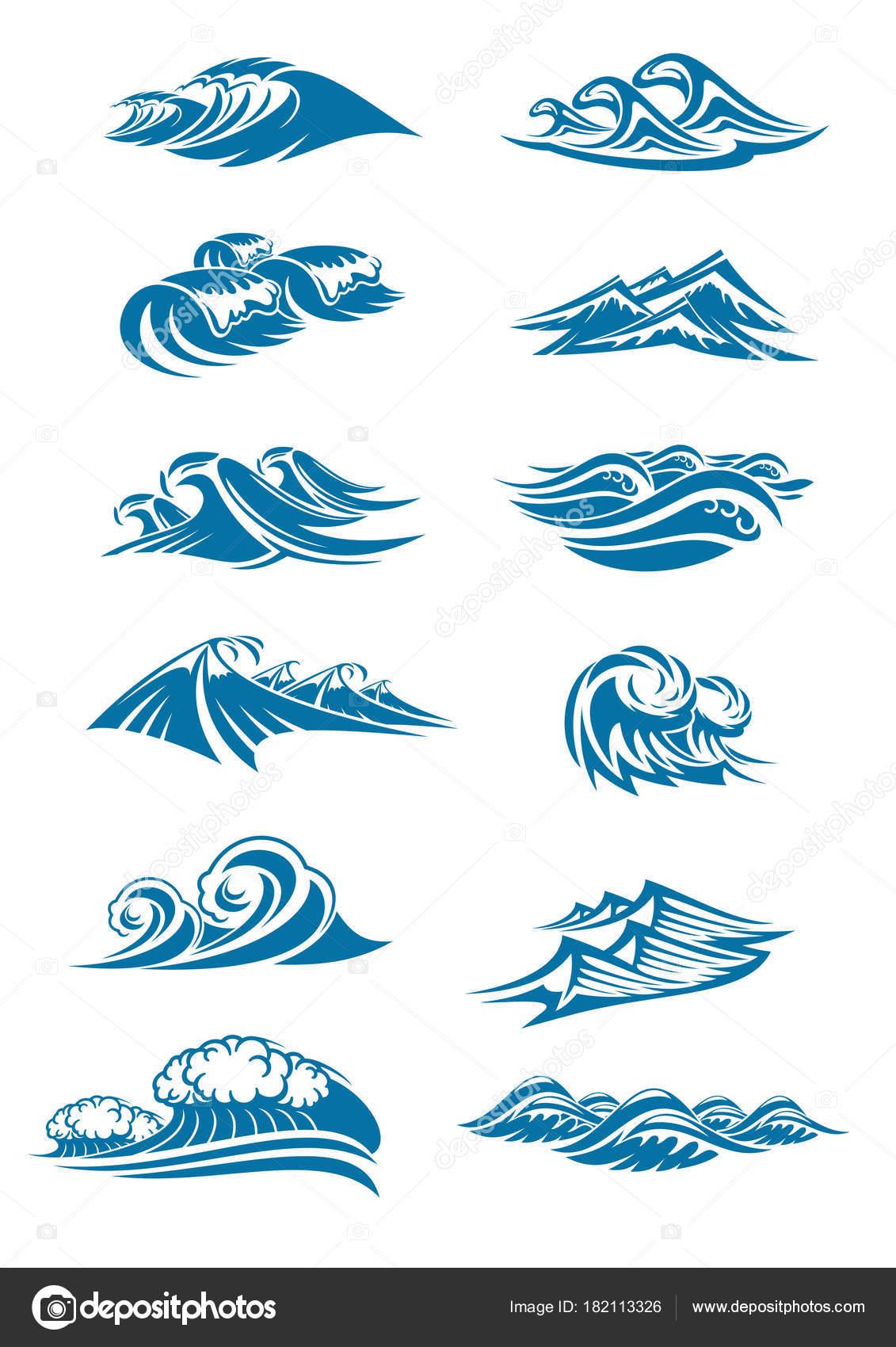 Vector Waves Icons Of Ocen Water Wave Blue Splash Stock Vector