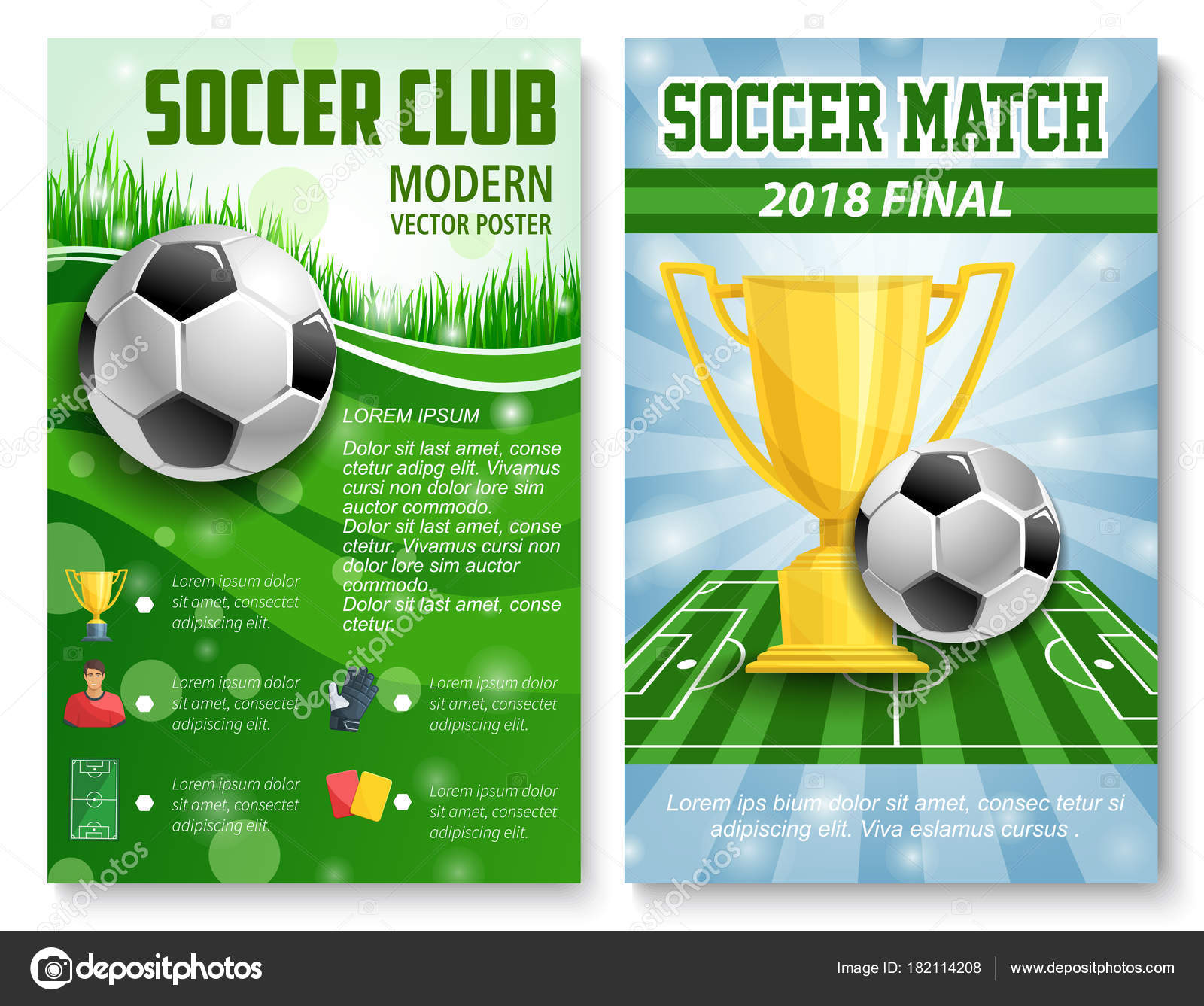 Soccer Match Championship Posters Design Template For International Football Cup Tournament Vector League Team Flags And Golden Award
