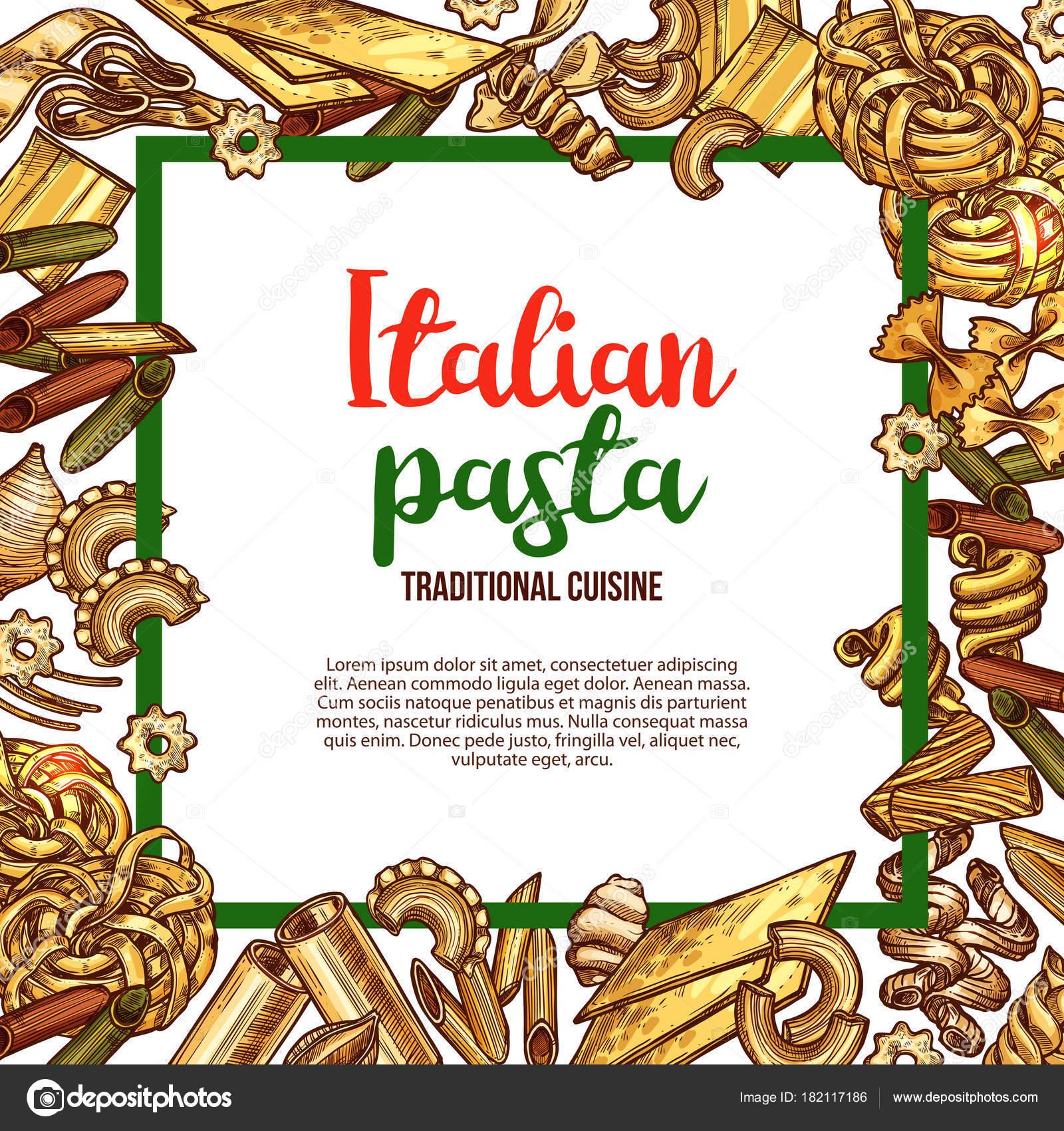 Pasta di vettore di schizzo poster per la cucina italiana ...