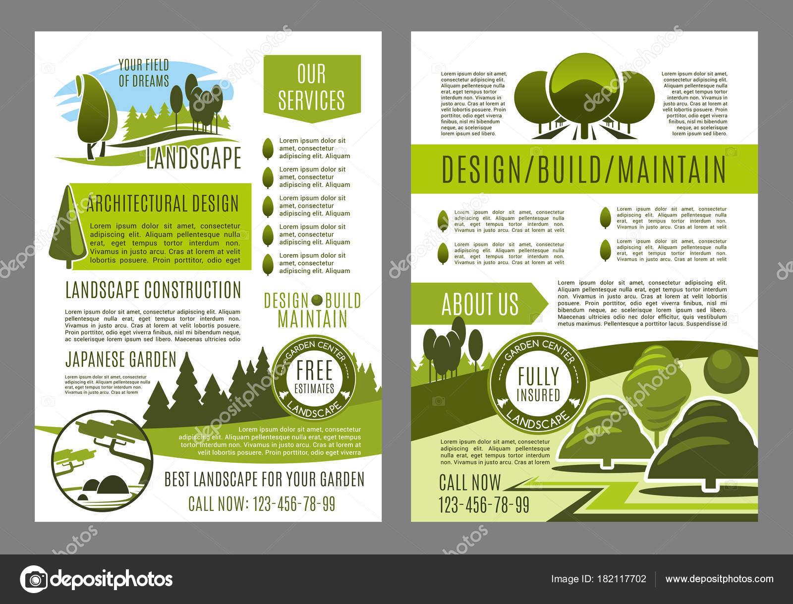 Folleto de vectores para diseño de paisaje verde eco — Archivo ...