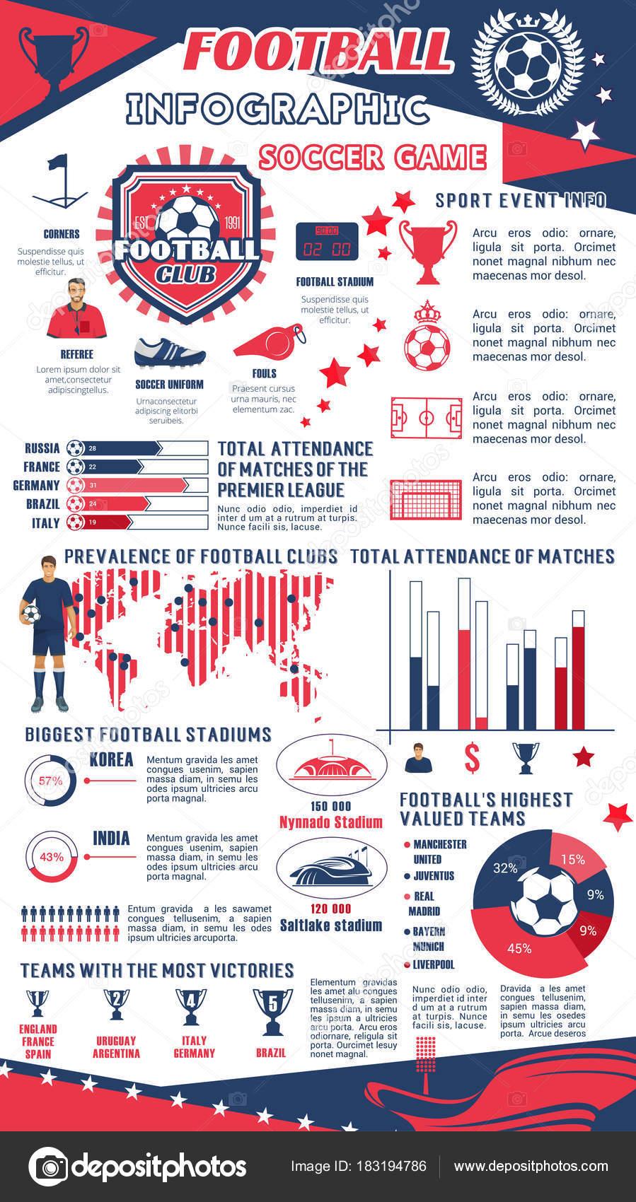 Fußball- oder Fußball Infografik der Sportclub — Stockvektor ...