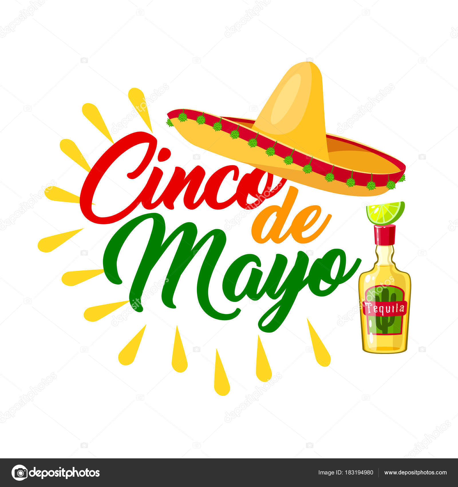 Cinco de mayo mexican holiday icon with sombrero stock vector cinco de mayo mexican holiday icon with festive sombrero latin american hat tequila margarita and lime fruit greeting card in colors of mexico flag for m4hsunfo