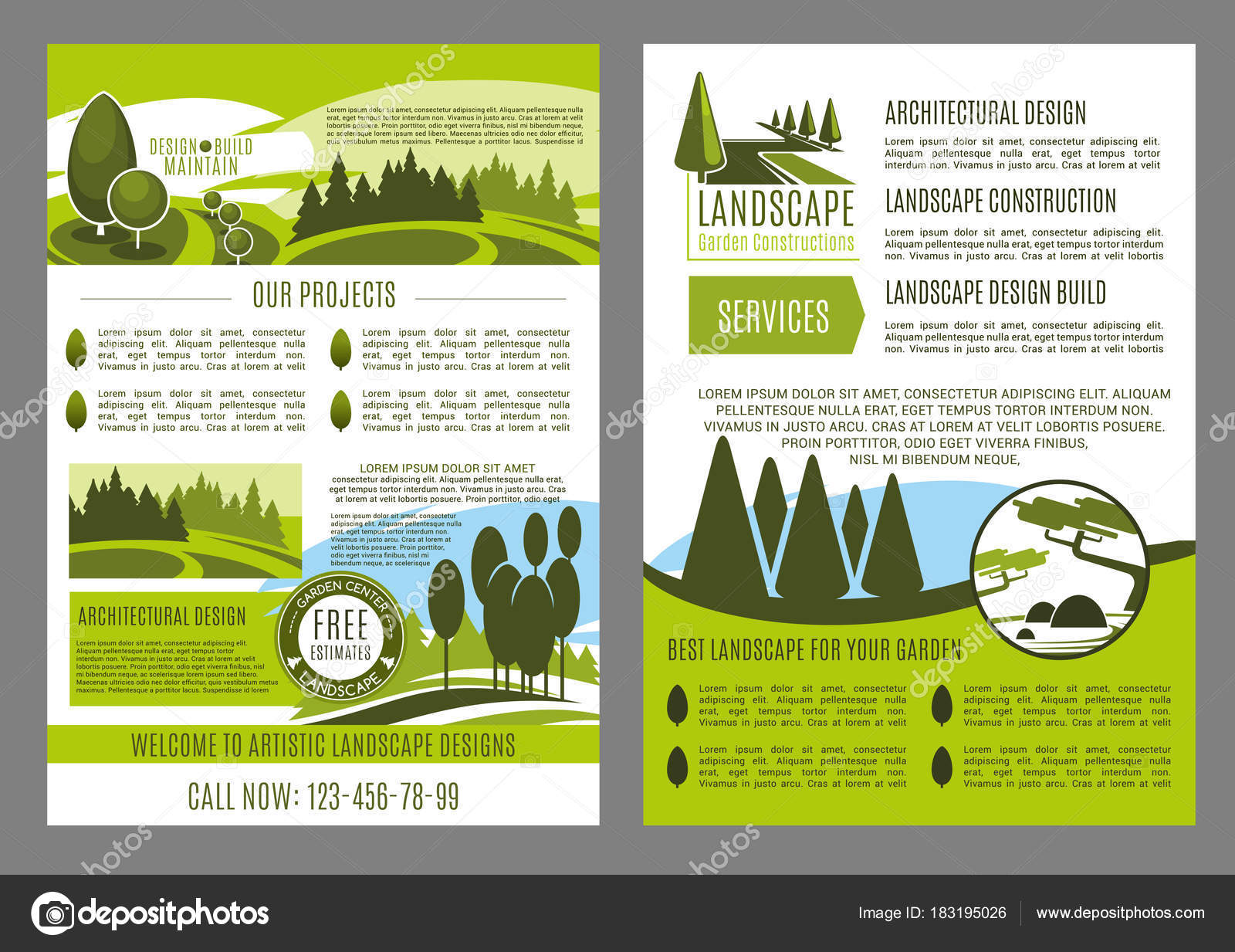 Landscape Design Company Business Brochure Template. Landscape  Architecture, Construction, Park Planning And Garden Design Promotion  Banner Or Leaflet With ...