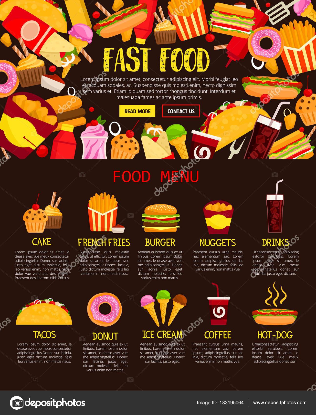 Banner de web de menú de comida rápida de almuerzo comida y bebida ...