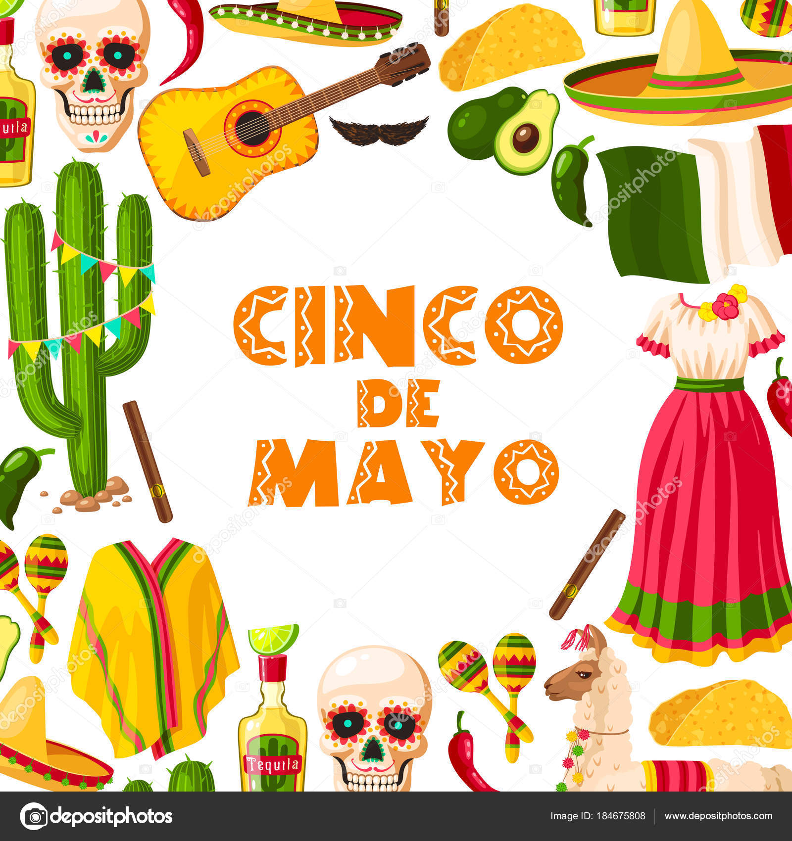 Cinco de mayo festive card of mexican fiesta party stock vector cinco de mayo mexican holiday greeting card for puebla battle victory celebration fiesta party sombrero maracas and cactus chili pepper or jalapeno m4hsunfo Image collections