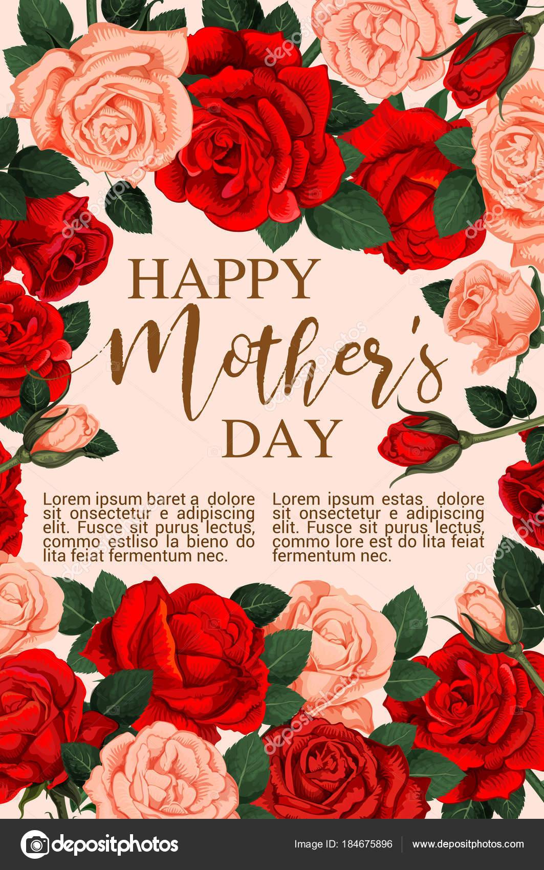 Tarjeta de felicitación del día de la madre con marco de flor color ...