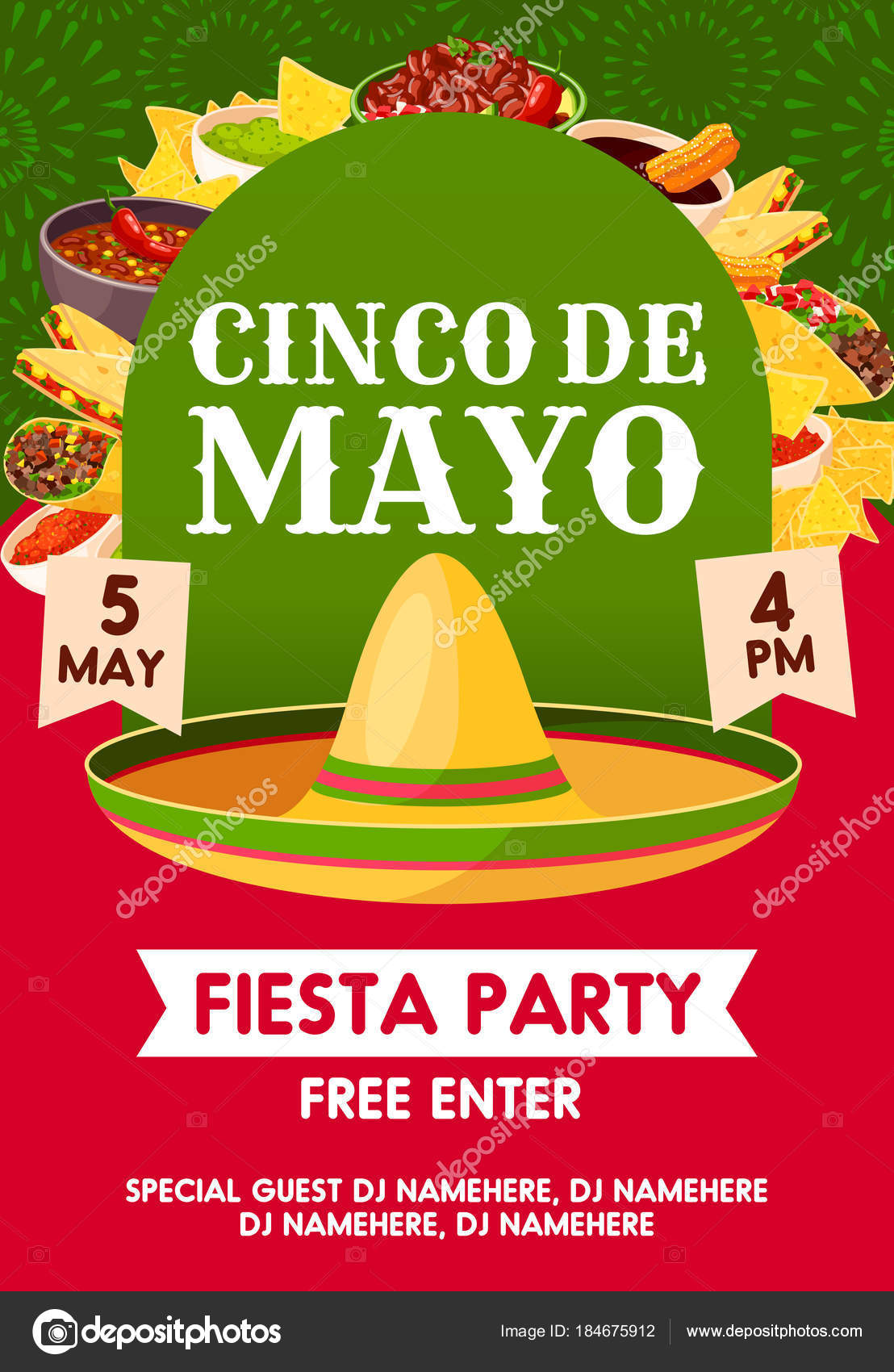 Cinco de mayo mexican party banner invitation stock vector cinco de mayo mexican holiday sombrero with festive food invitation banner for fiesta party template mexican hat with taco burrito and nacho stopboris Image collections