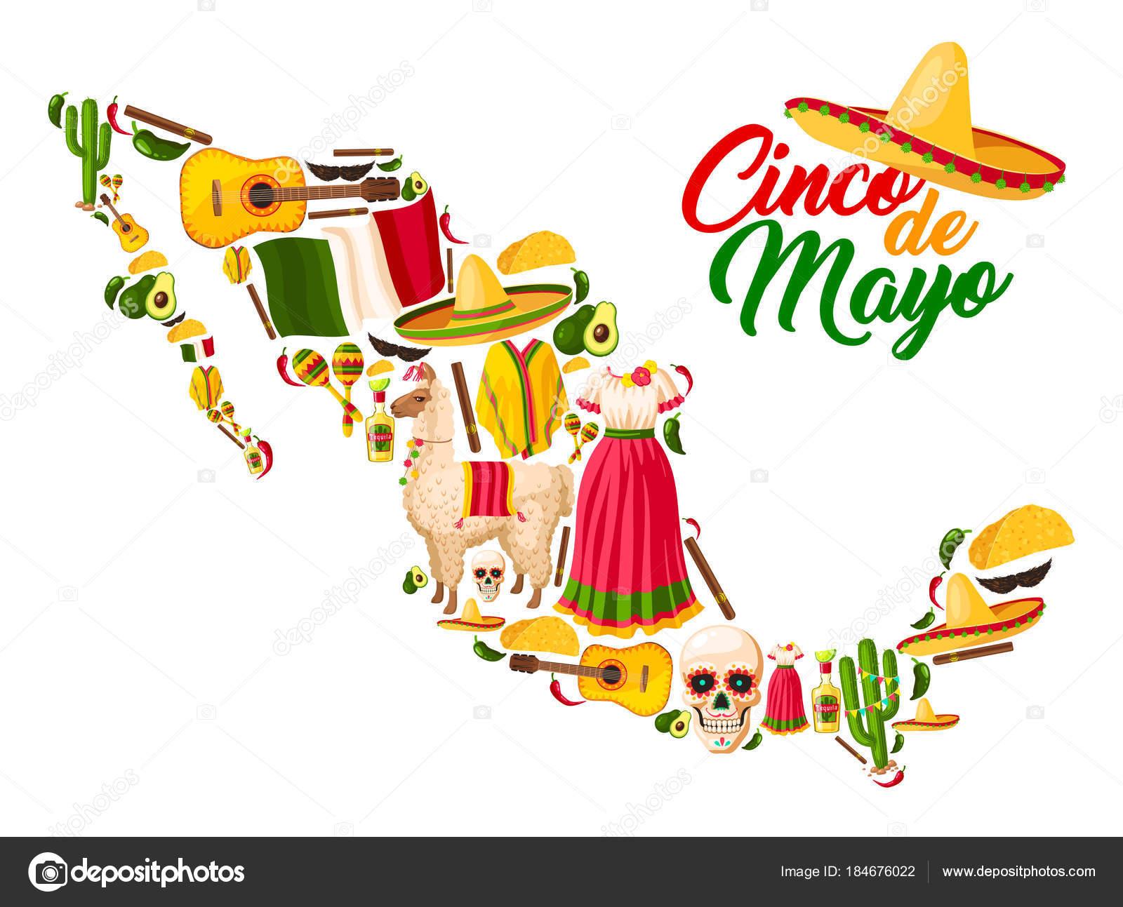 Mexicana mapa con símbolos de la celebración de Cinco de Mayo. Sombrero  sombrero 5311826b6bc