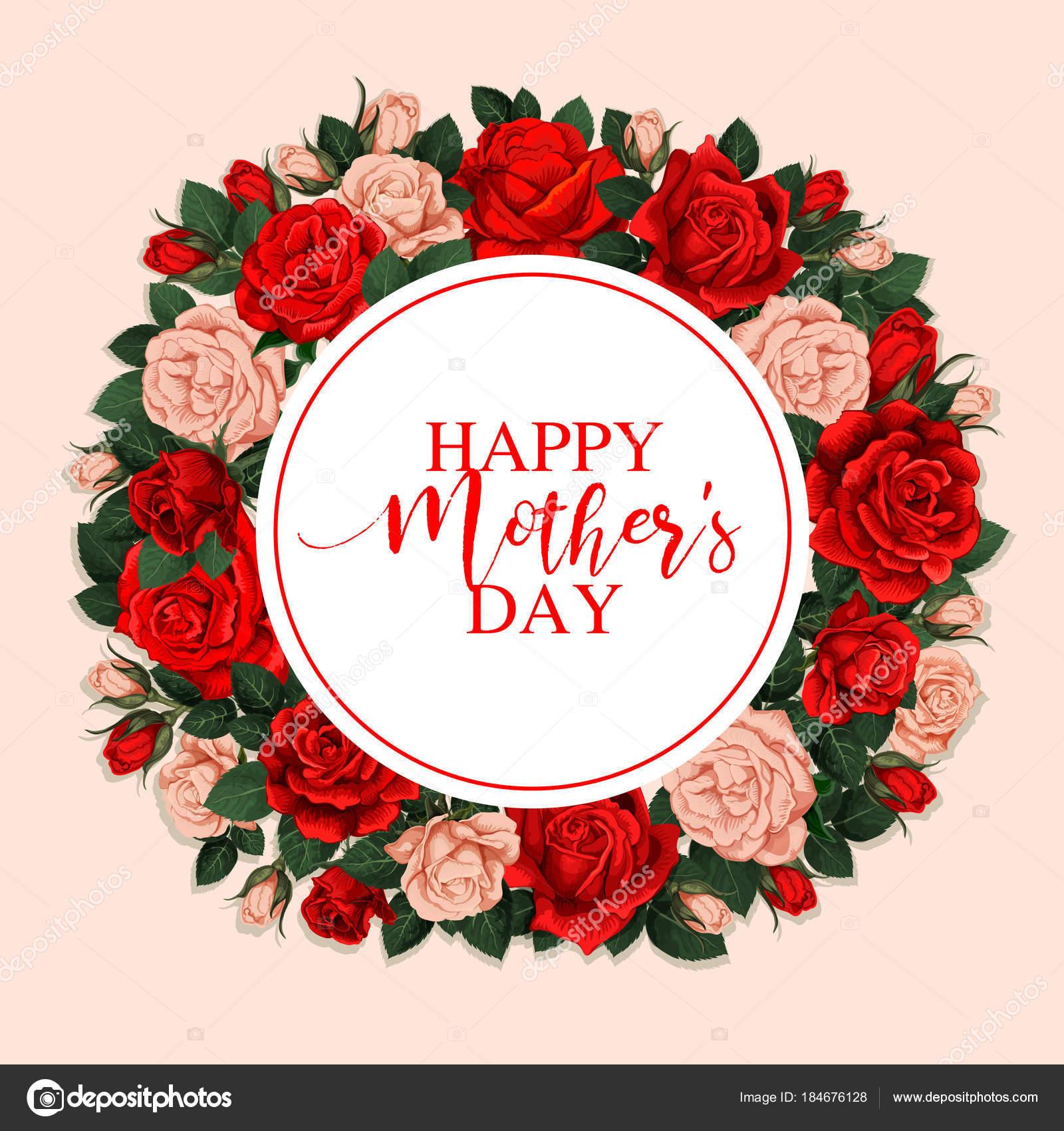 Happy Mother Day Wenskaart Met Florale Frame Stockvector
