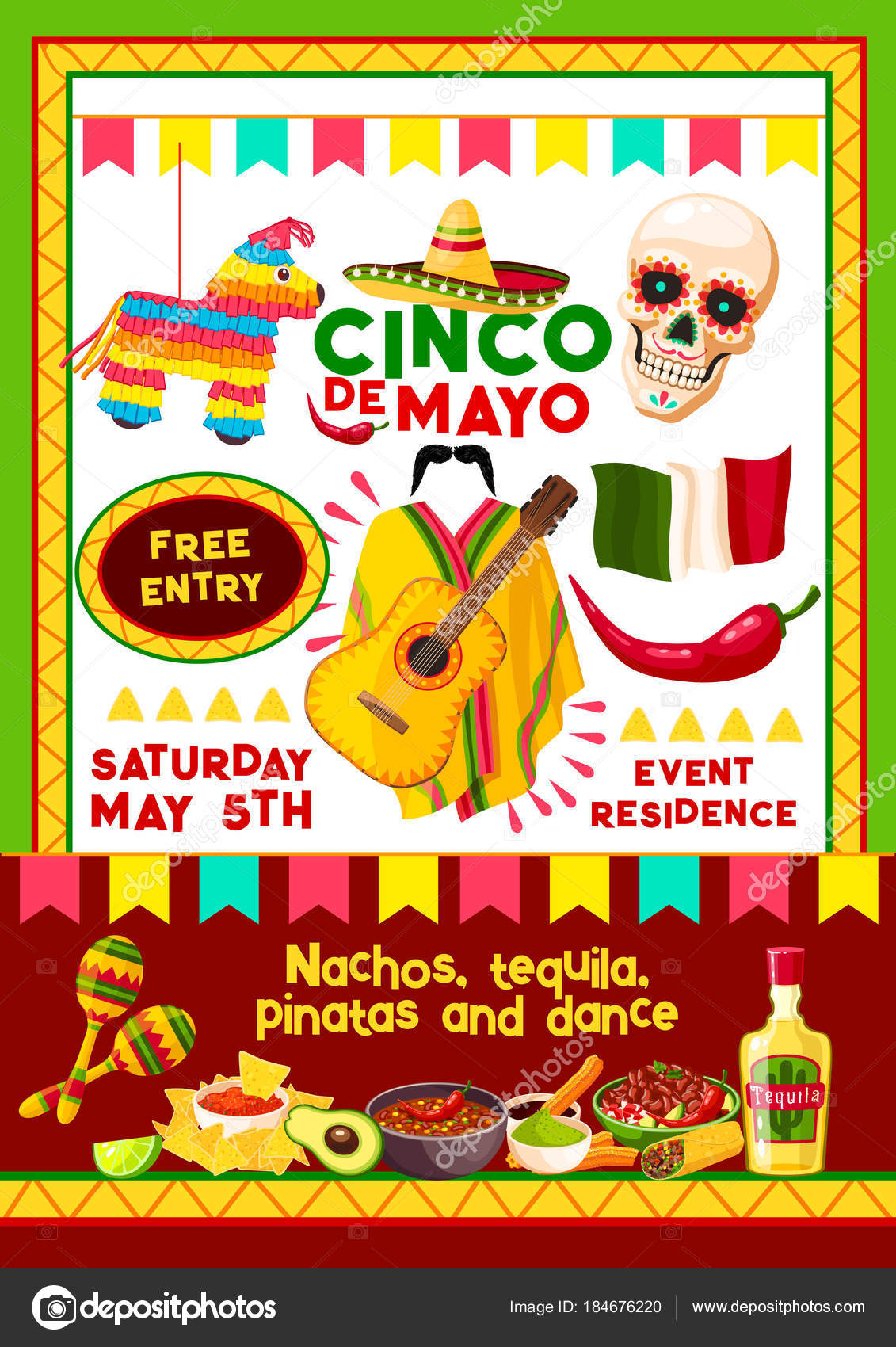 Vector mexican cinco de mayo party invitation card stock vector cinco de mayo mexican holiday invitation design template for party fiesta vector entry flyer of mexico flags skull and guitar or chili pepper and sombrero stopboris Image collections