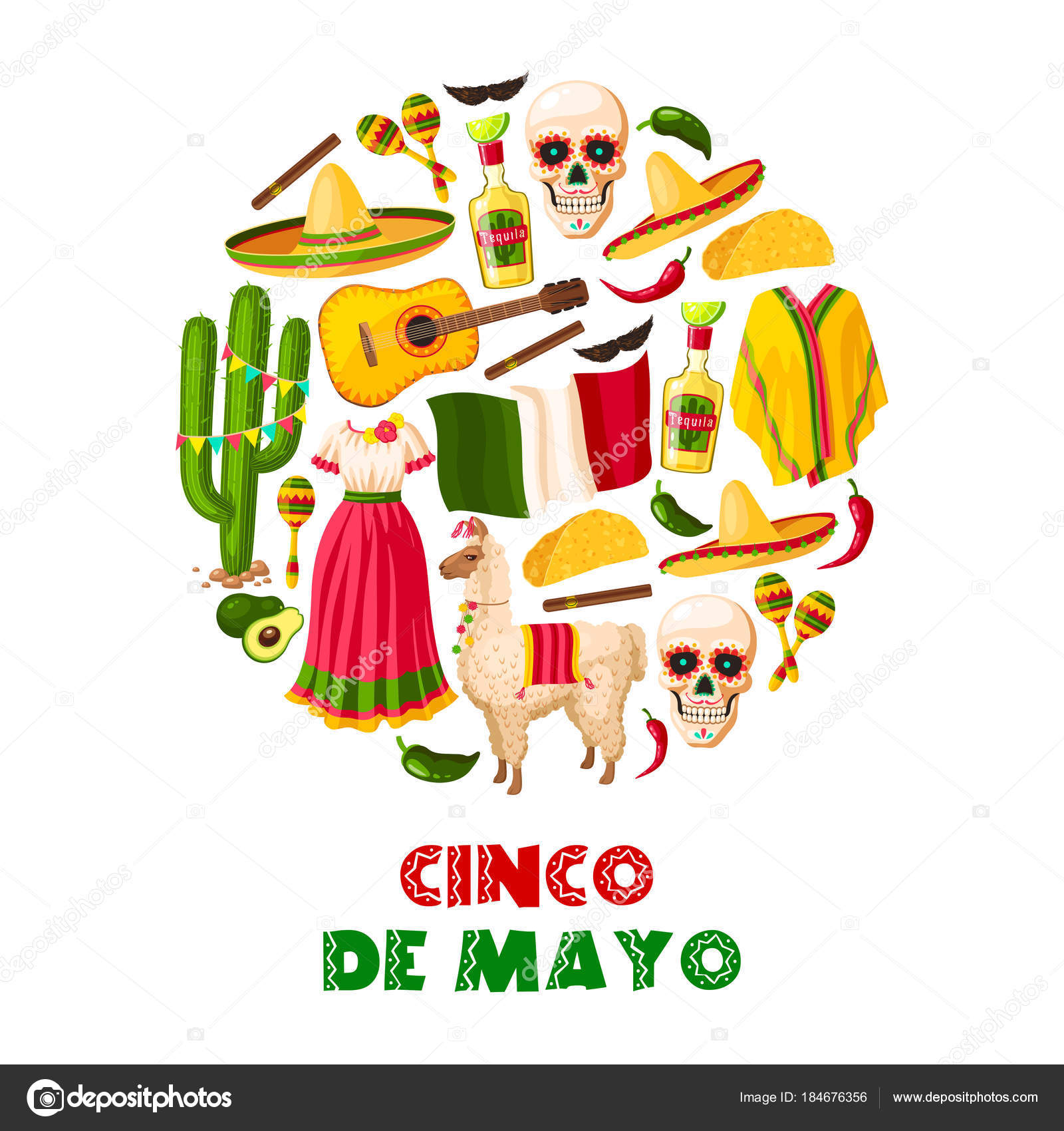Mexican holiday card of cinco de mayo fiesta party stock vector mexican holiday greeting card for cinco de mayo fiesta party sombrero hat chili pepper and jalapeno maracas cactus and tequila margarita flag of mexico m4hsunfo
