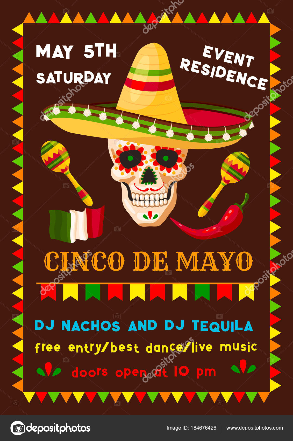 Cinco de Mayo cartel de invitación para fiesta mexicana fiesta de  celebración del día de fiesta nacional. Diseño de flyer vector cráneo en  sombrero con ... 1f065358bc2
