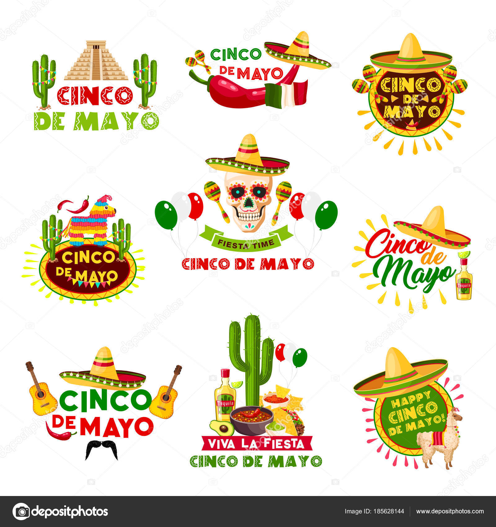 Cinco De Mayo Mexican Holiday Cele Tion Icons Vector Set Of Mexico Aztec Pyramid Sombrero Hat And Skull With Jalapeno Chili Pepper Guitar And Tequila