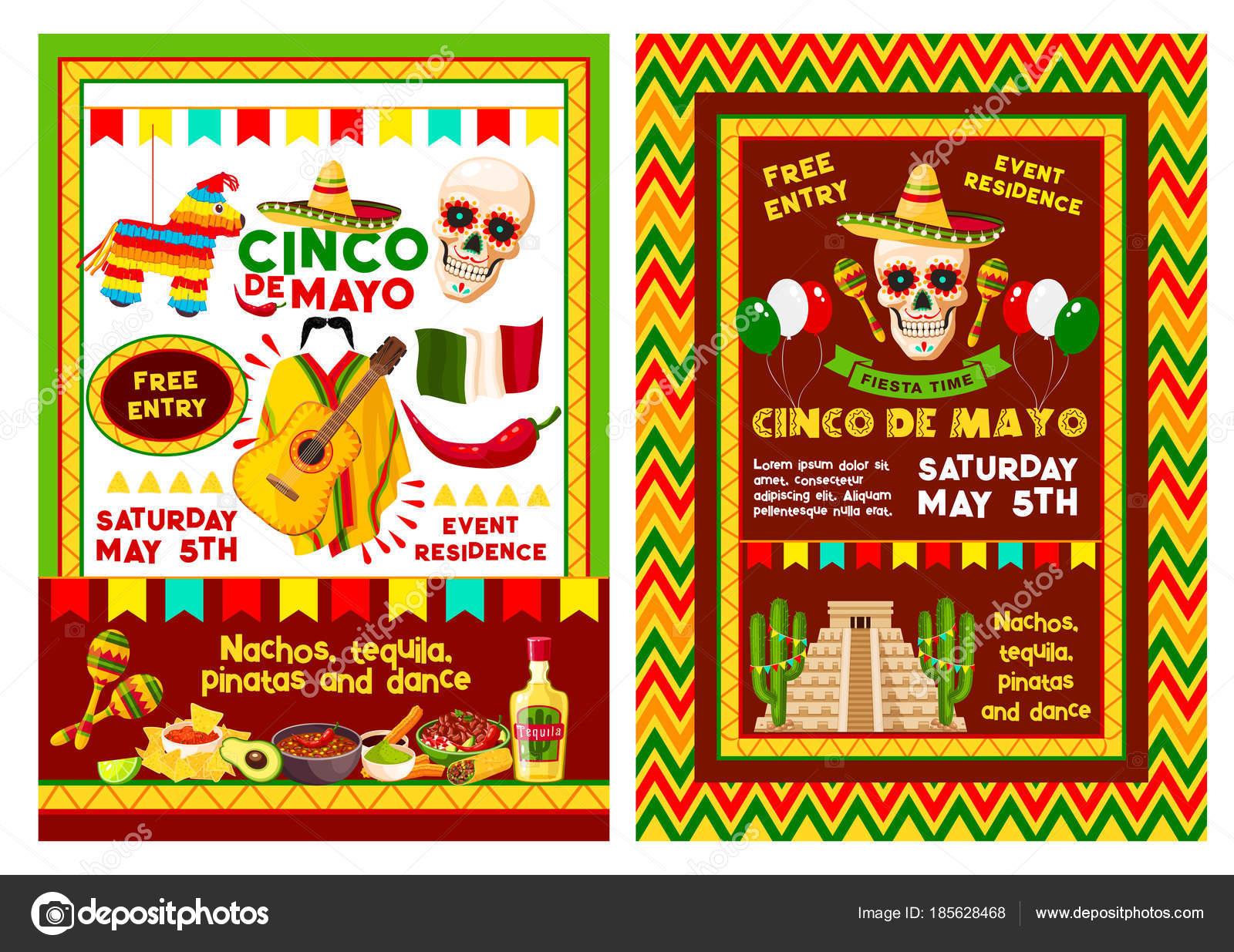 Mexican Cinco De Mayo Party Invitation Banner Stock Vector