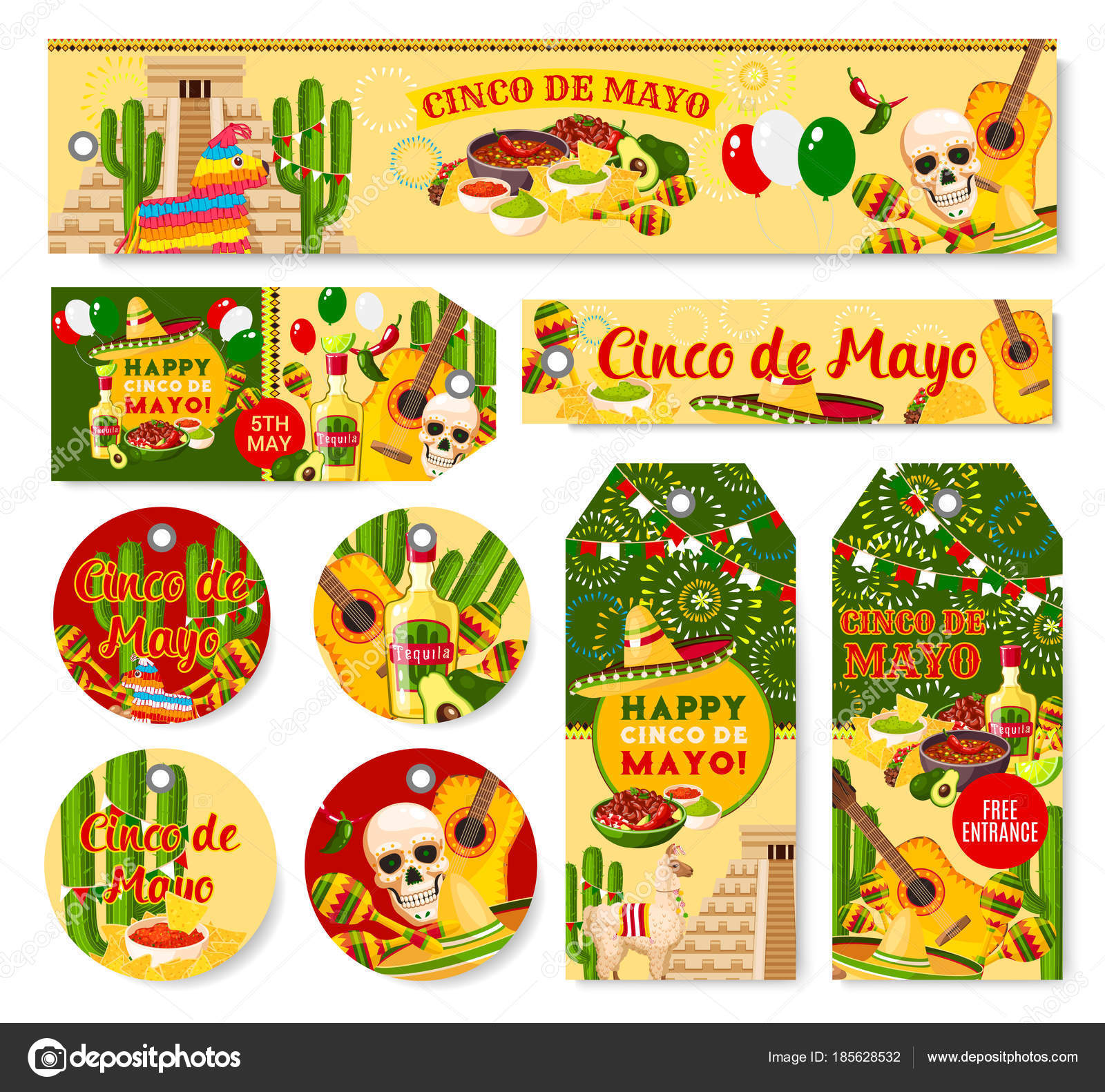 Cinco de mayo mexican holiday fiesta vector tags stock vector cinco de mayo mexican holiday party celebration banners and tags vector set of party greetings and traditional mexican flag jalapeno pepper and skull in kristyandbryce Gallery