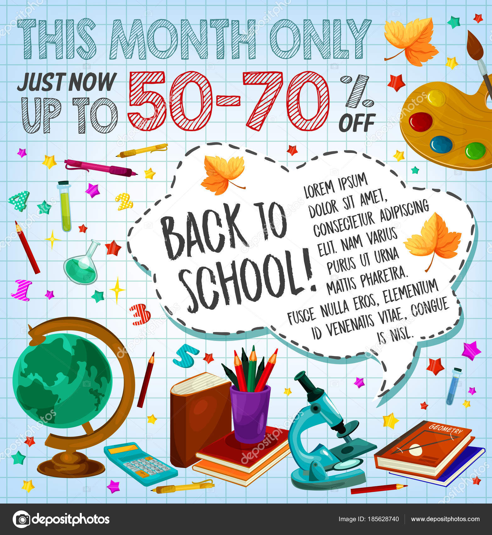 Zurück Zu Schule Verkauf Rabatt Angebot Poster Design Stockvektor