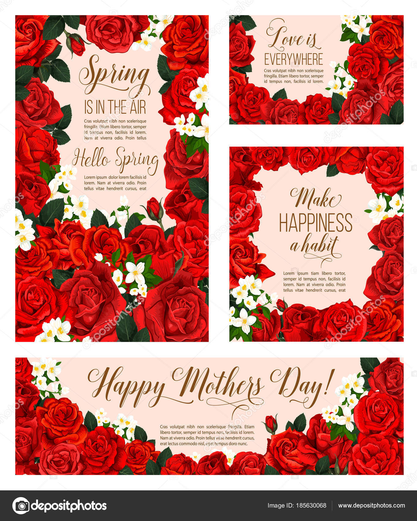 Vector spring flowers of mother day greeting cards stock vector spring is in air seasonal greeting cards for mother day holiday of red roses and flowers bunch for springtime season celebration vector design of blooming m4hsunfo