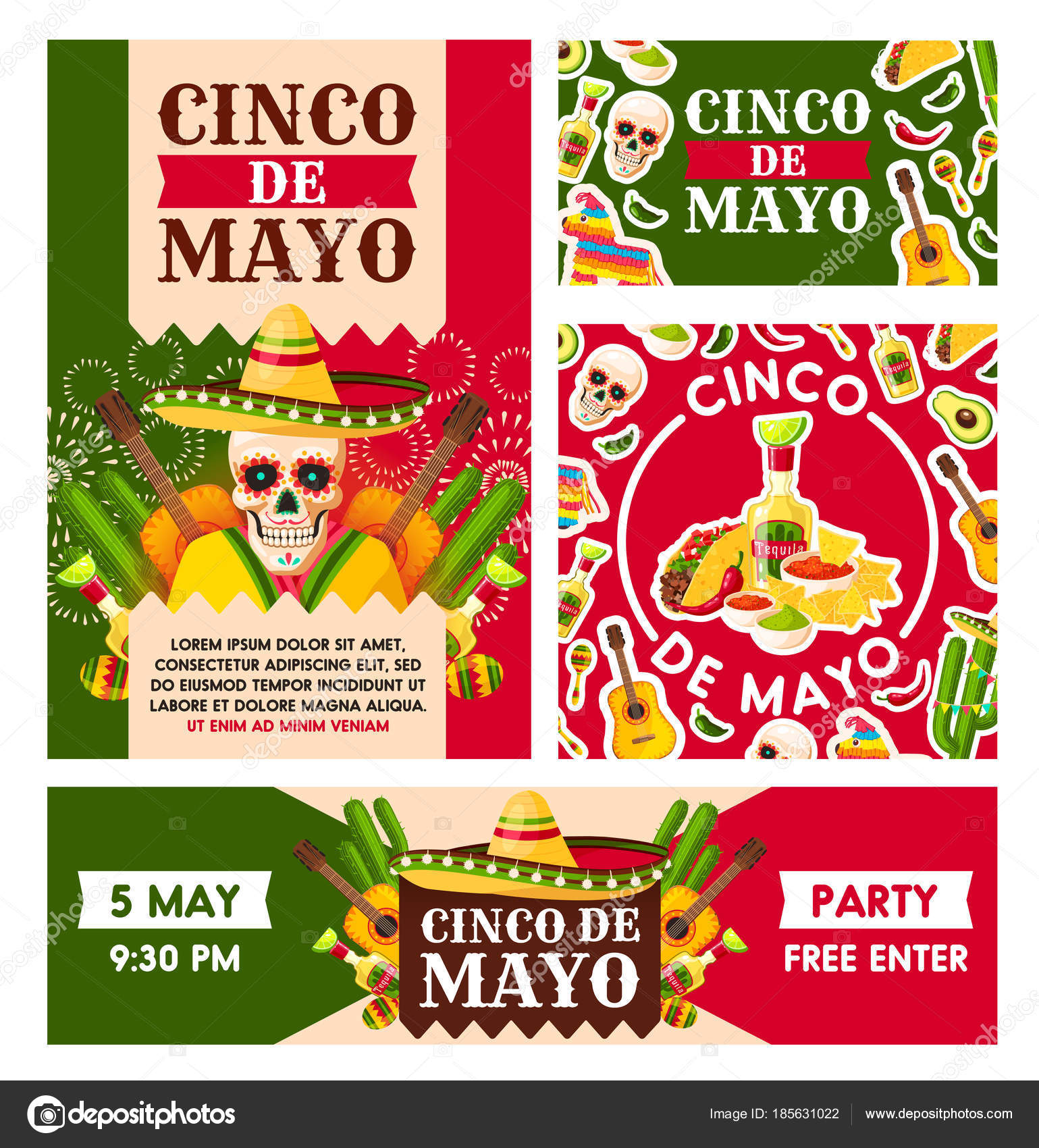 Mexican cinco de mayo holiday vector posters stock vector cinco de mayo mexican national holiday celebration greeting cards vector party posters design of mexico flag colors sombrero on skull and traditional food m4hsunfo
