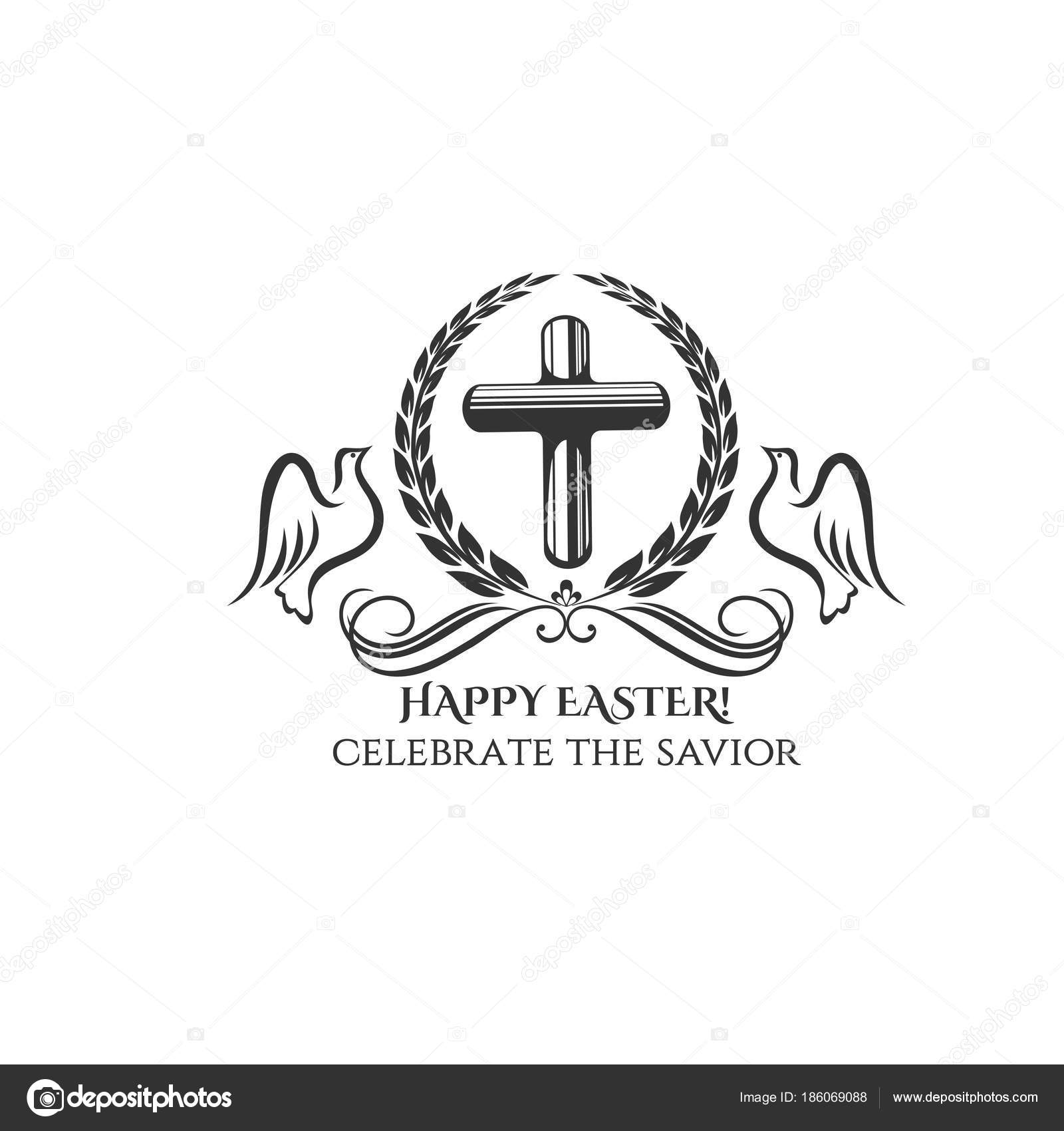 Happy easter cross and doves vector icon stock vector happy easter cross icon for easter day or resurrection sunday celebration greeting card design vector isolated symbol of catholic christian cross buycottarizona Images