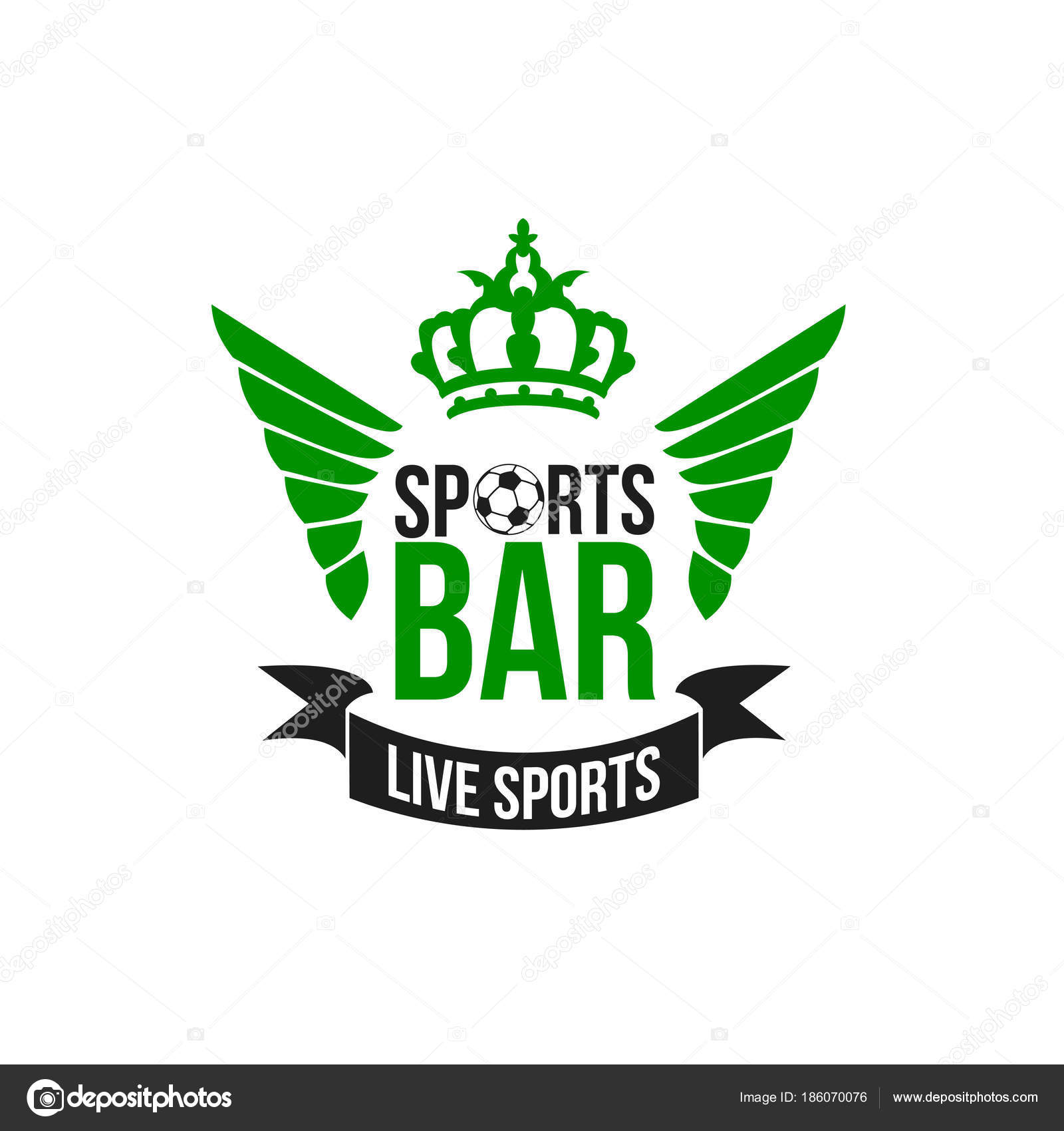 Vector soccer sports beer pub icon stock vector seamartini soccer live sports bar icon of green football wings and victory crown for fans beer pub vector isolated symbol of football ball for soccer cup game buycottarizona
