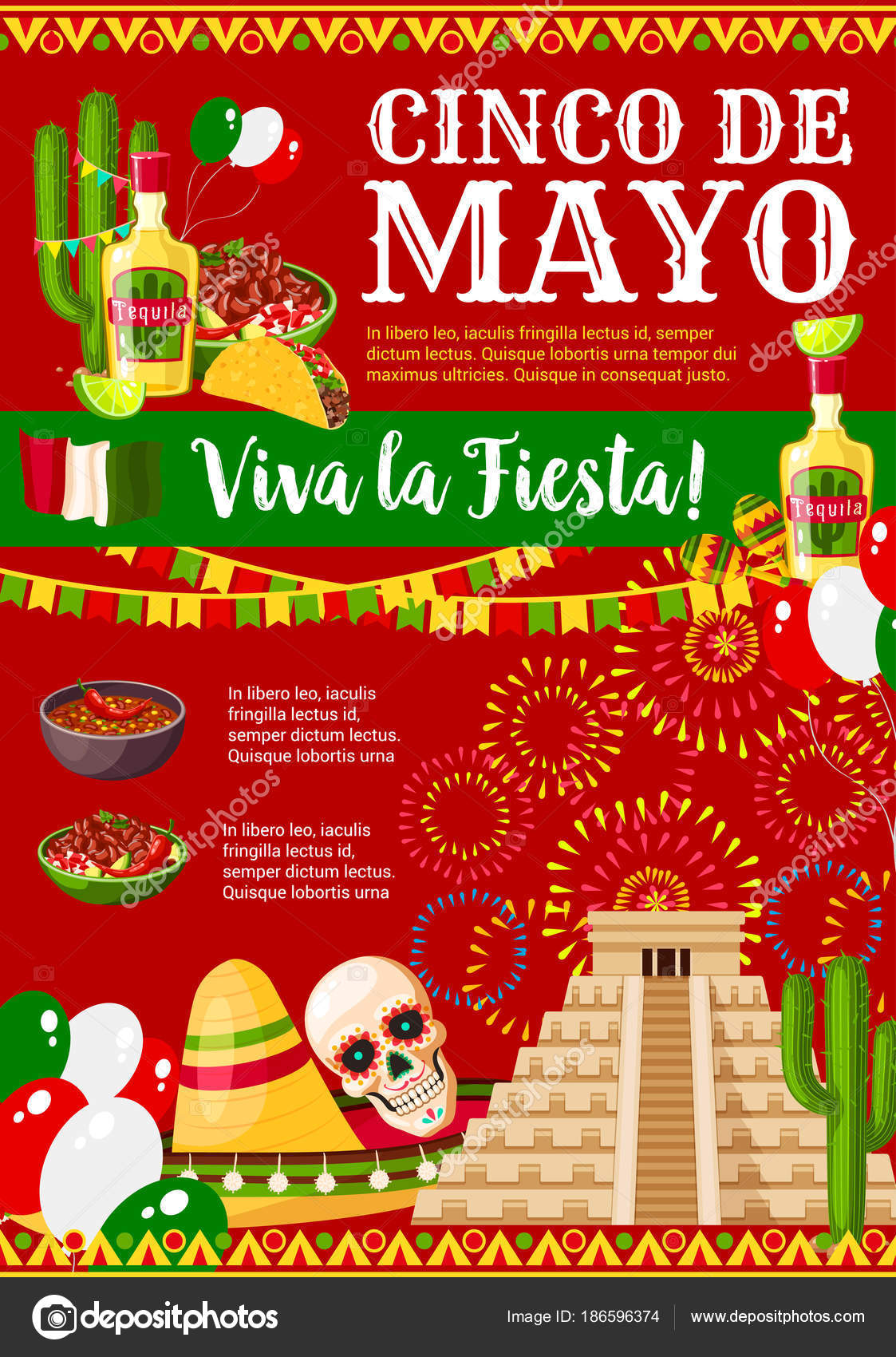 Cinco de mayo mexican vector greeting card stock vector cinco de mayo greeting card for mexican holiday fiesta party celebration of traditional symbols jalapeno pepper sombrero and tequila or skull m4hsunfo Image collections