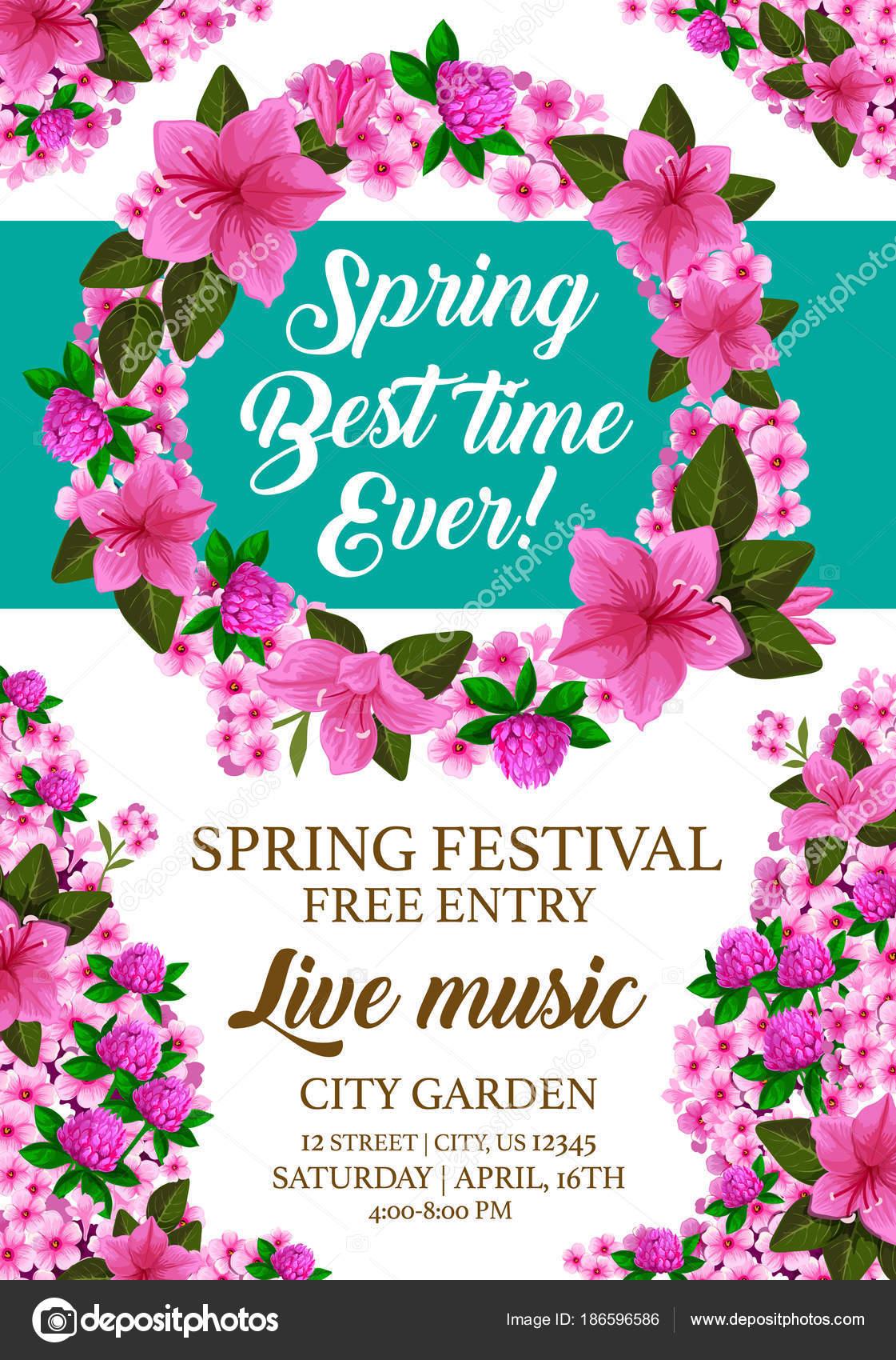 Vector spring holiday festival invitation card stock vector vector spring holiday festival invitation card stock vector stopboris Choice Image