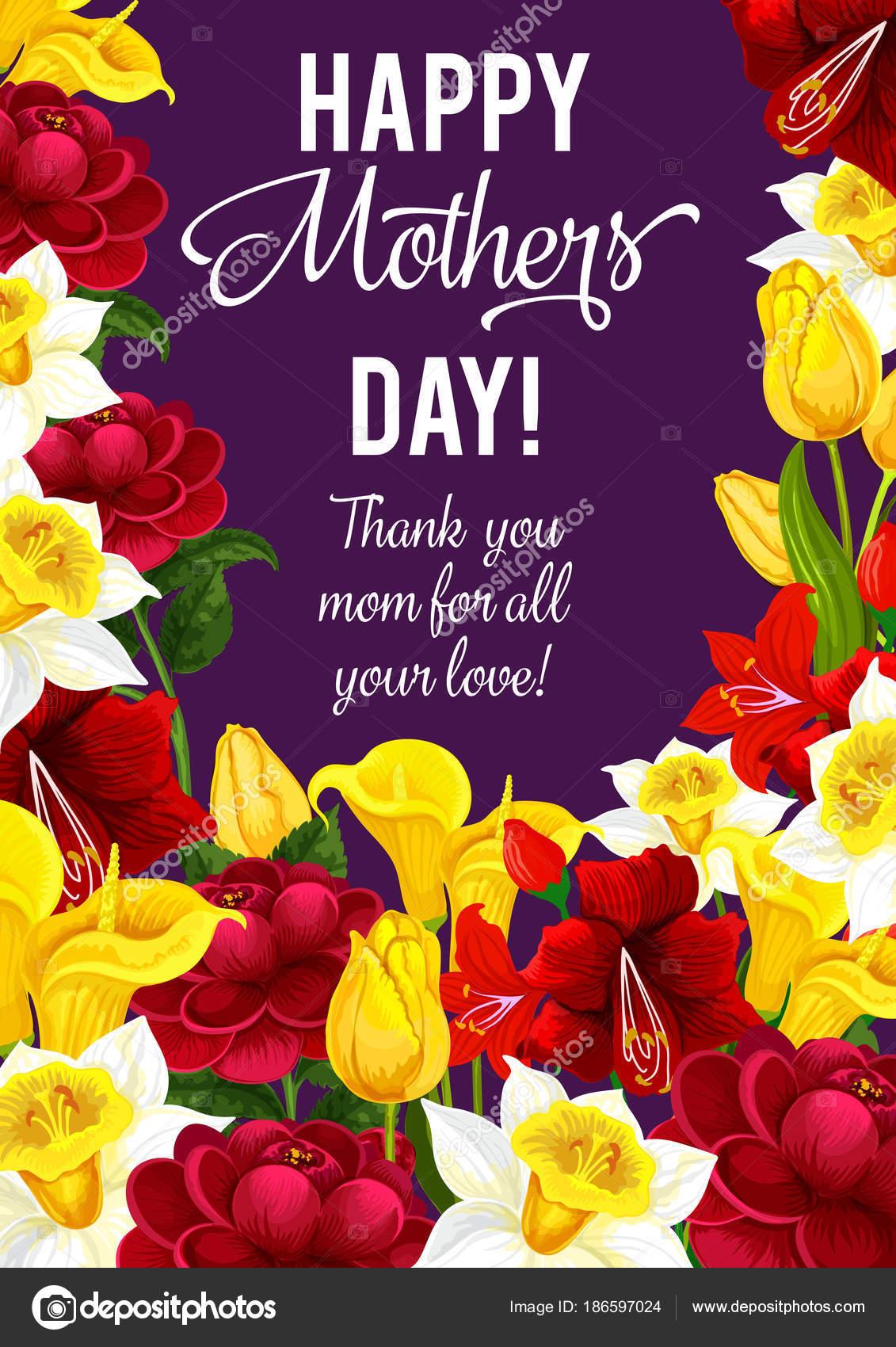 Bandera día de la madre feliz con marco de flor de primavera ...