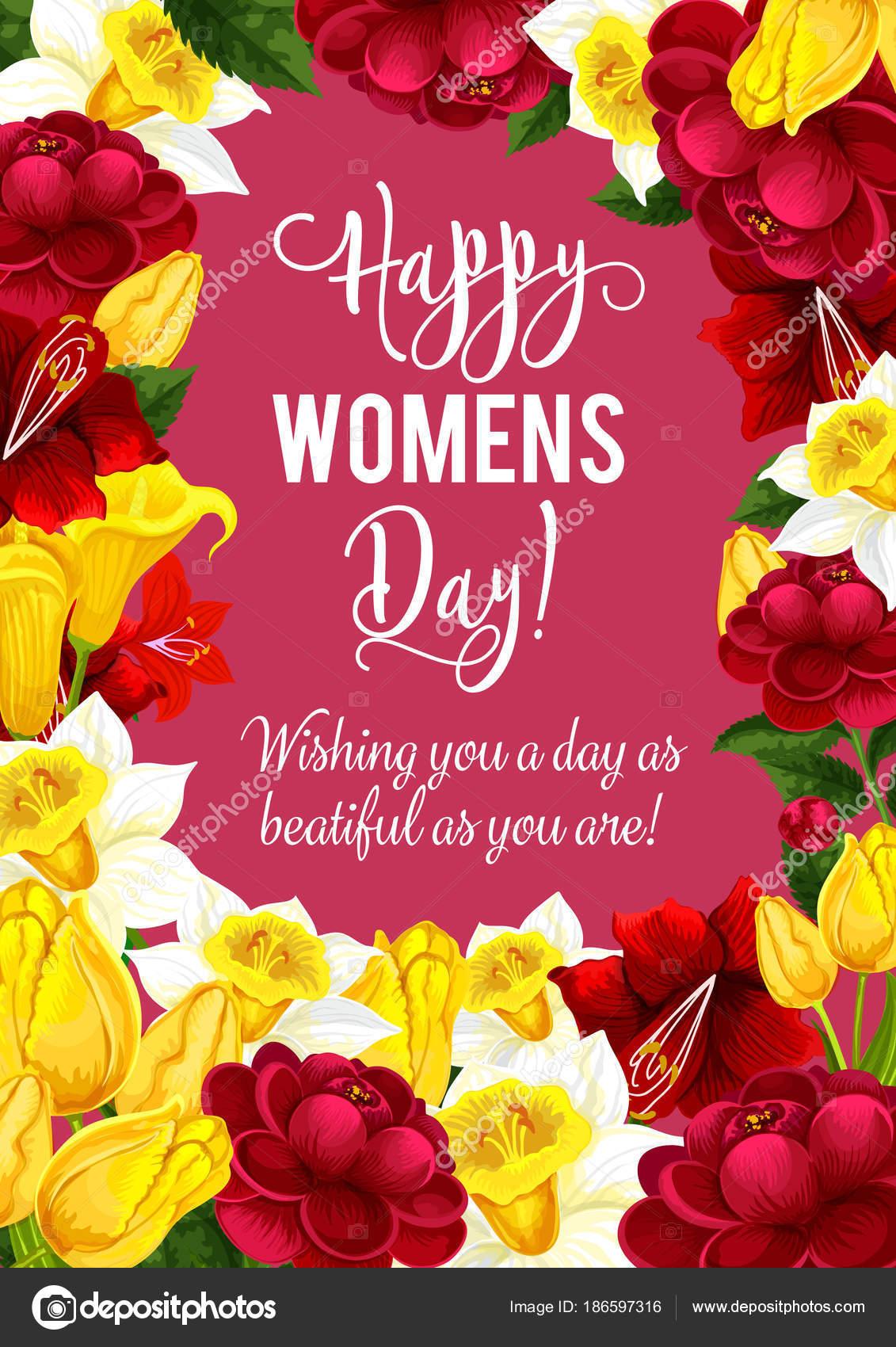 Tarjeta de felicitación día de las mujeres con marco de flor de ...