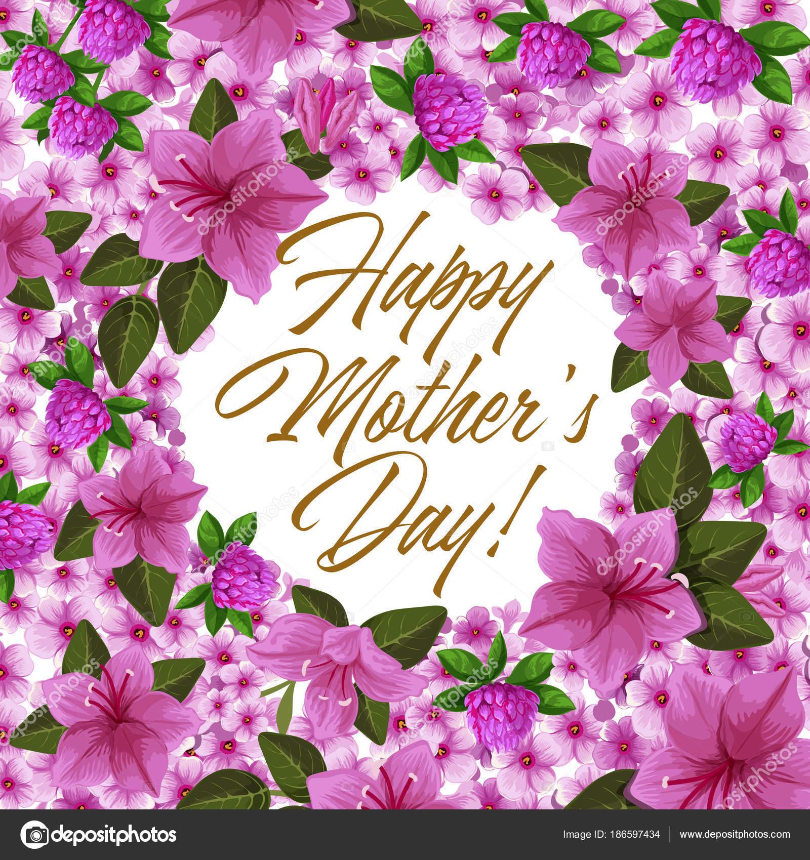 Marco de flores día de la madre para la tarjeta de vacaciones de ...
