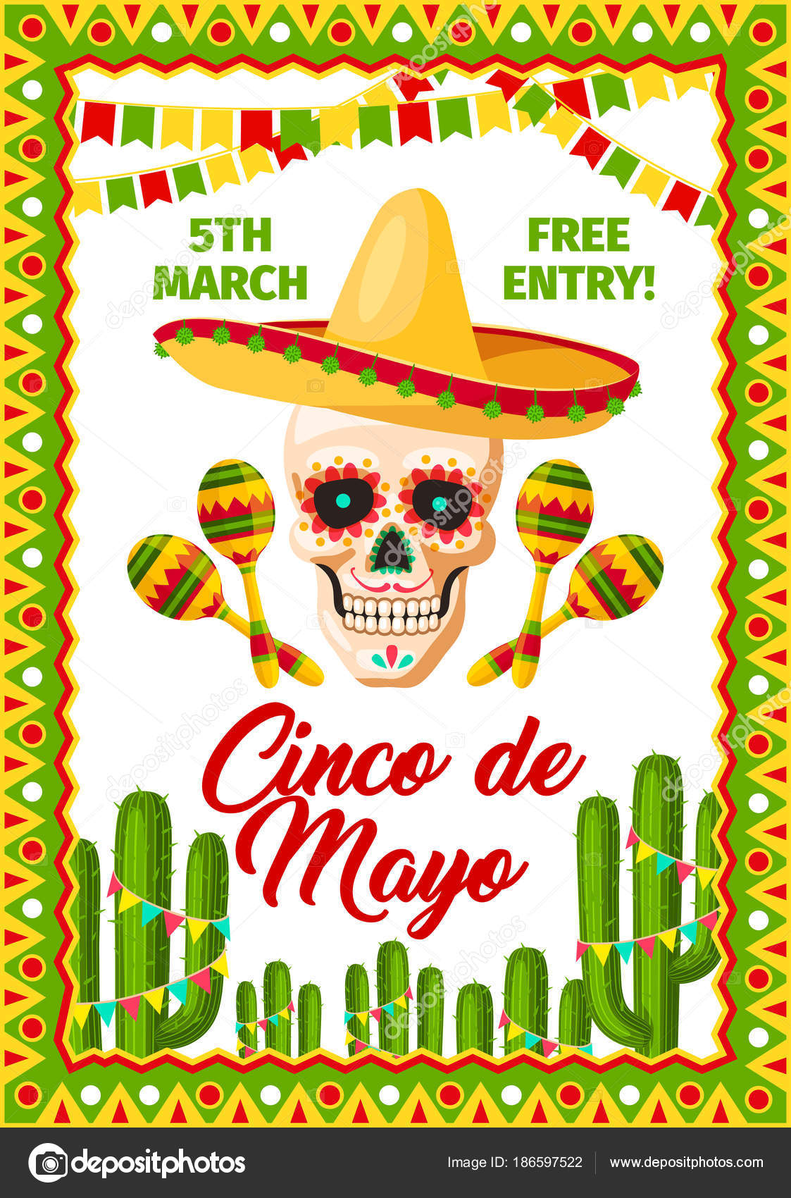 Cinco de mayo mexican party vector invitation stock vector cinco de mayo mexican holiday fiesta invitation card for mexico traditional party celebration vector poster of mexican sombrero on skull and maracas stopboris Images